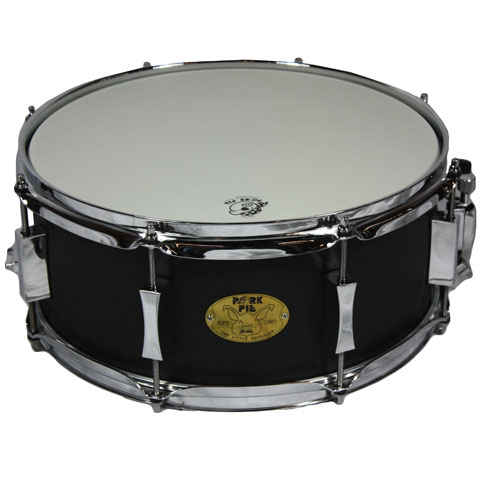 "Pork Pie 6"" x 14"" Steel Black Wrinkle Lacquer 8 Lug Snare Drum"