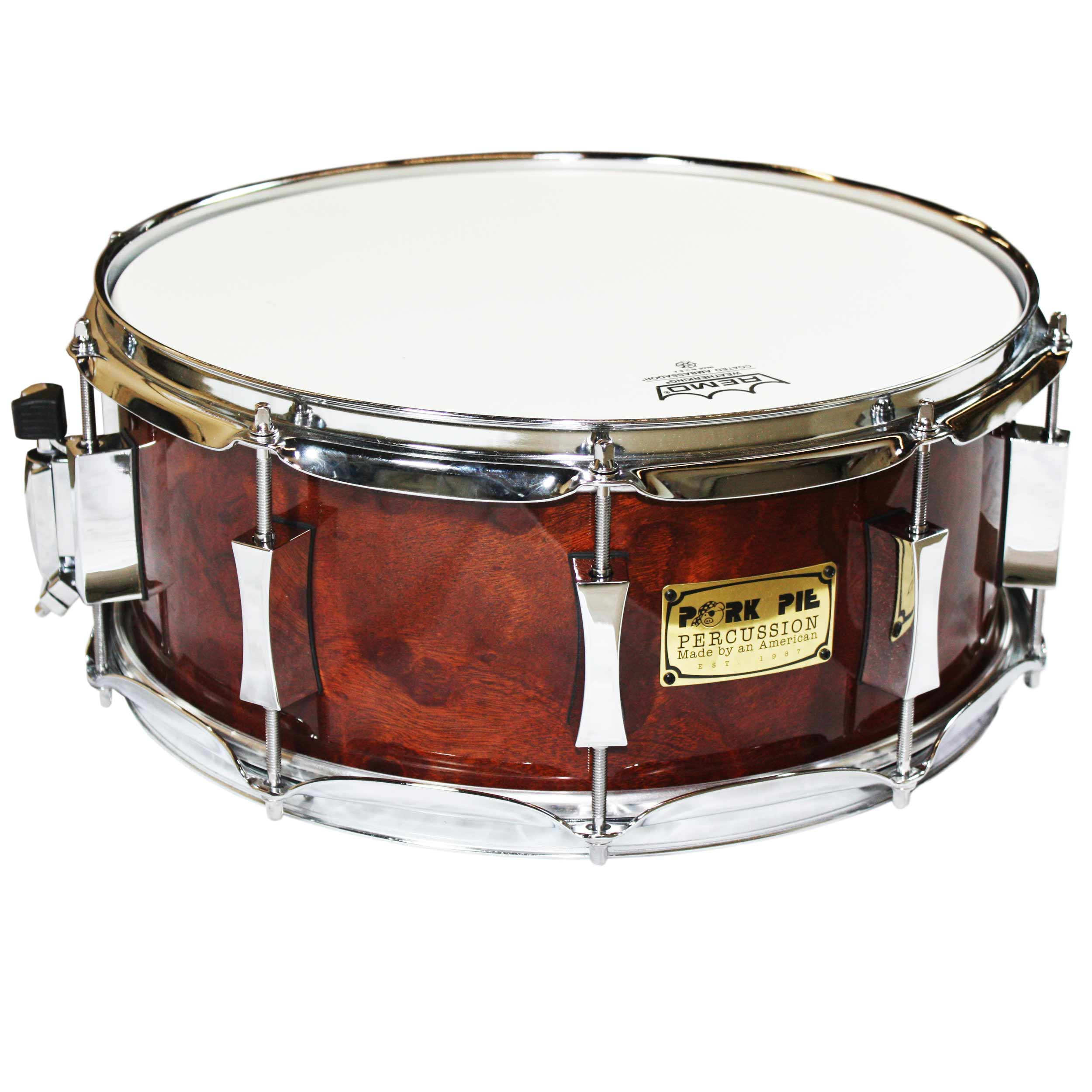 "Pork Pie 6"" x 14"" Sapelli High Gloss Lacquer Wood Snare Drum"