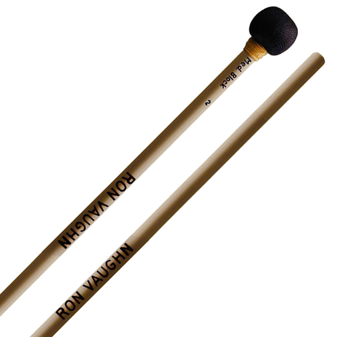 Ron Vaughn High Density Medium Wood Block Mallets with Rattan Shafts