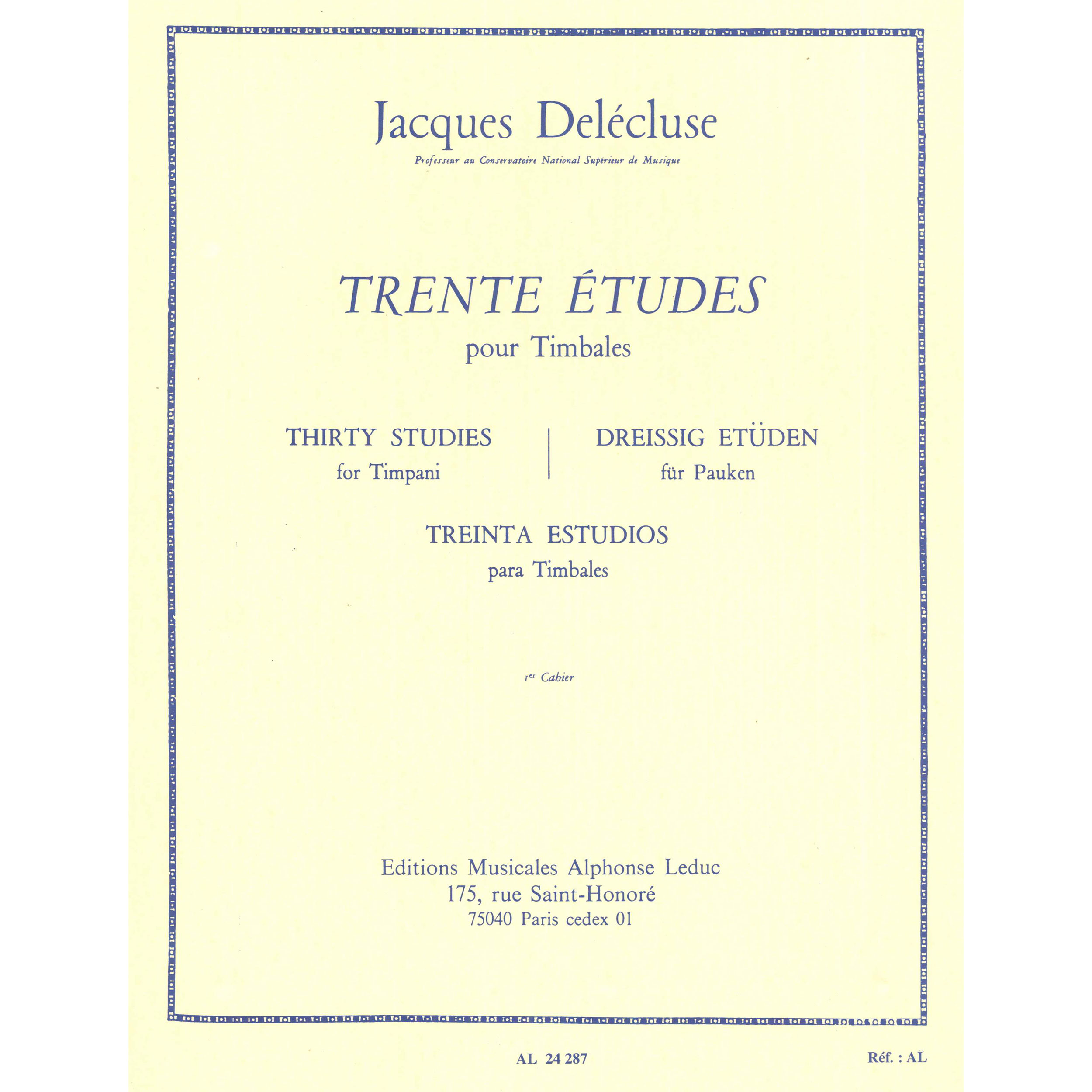 Trente Etudes pour Timbales (Thirty Etudes for Timpani) Book 1 by Jacques Delecluse