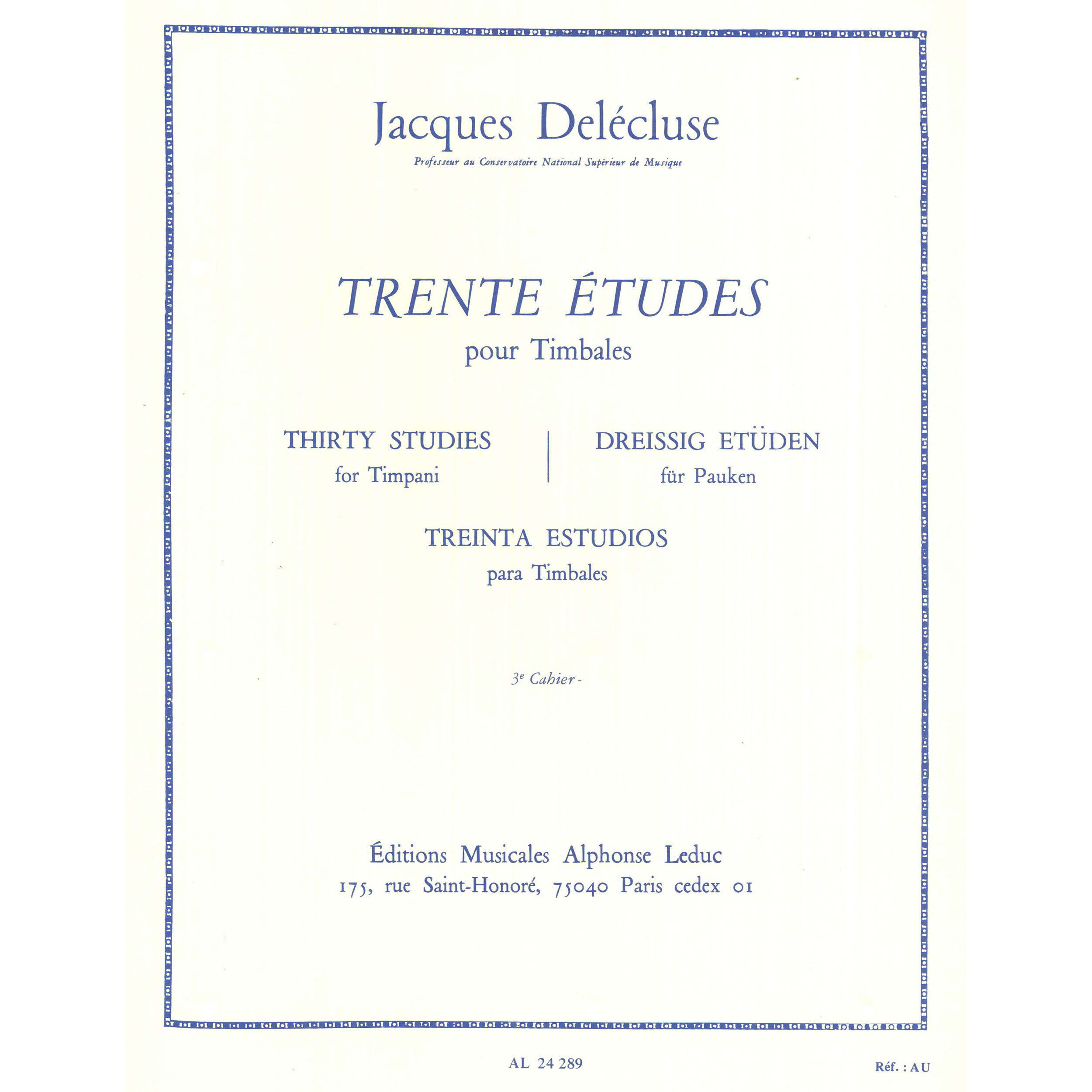Trente Etudes pour Timbales (Thirty Etudes for Timpani) Book 3 by Jacques Delecluse