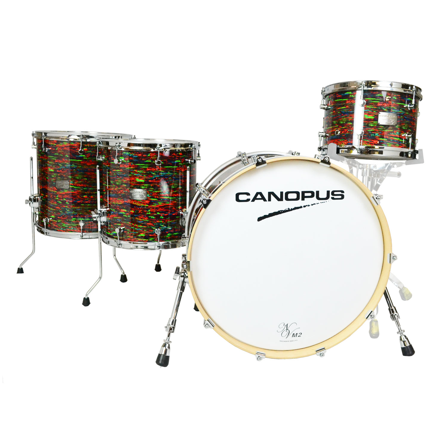 "Canopus Neo-Vintage M2 4-Piece Drum Set Shell Pack (22"" Bass, 12/14/16"" Toms) in Psychedelic Red"
