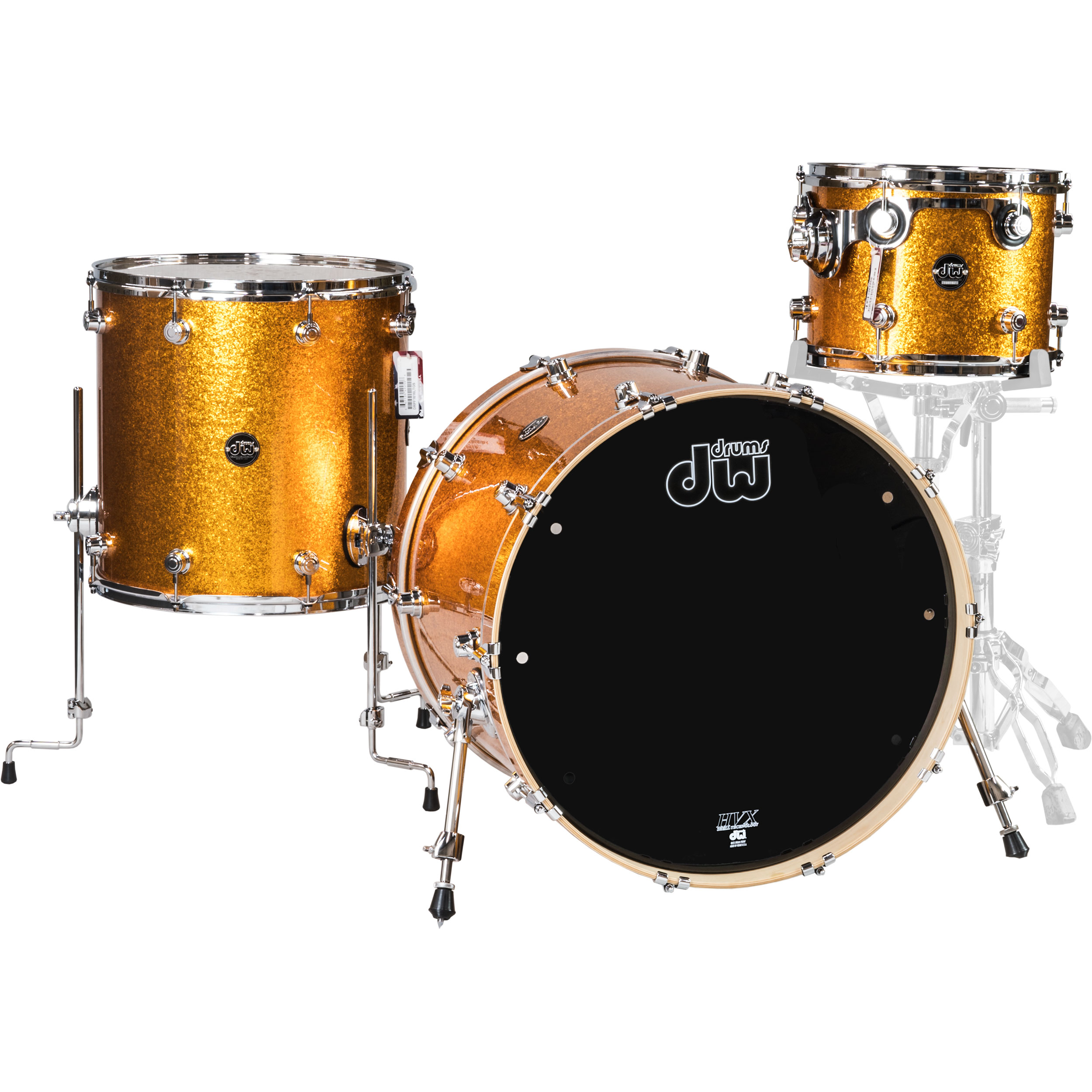 """DW 3-Piece Performance Shell Pack (22"""" Bass, 12/16"""" Toms) in Gold Sparkle"""