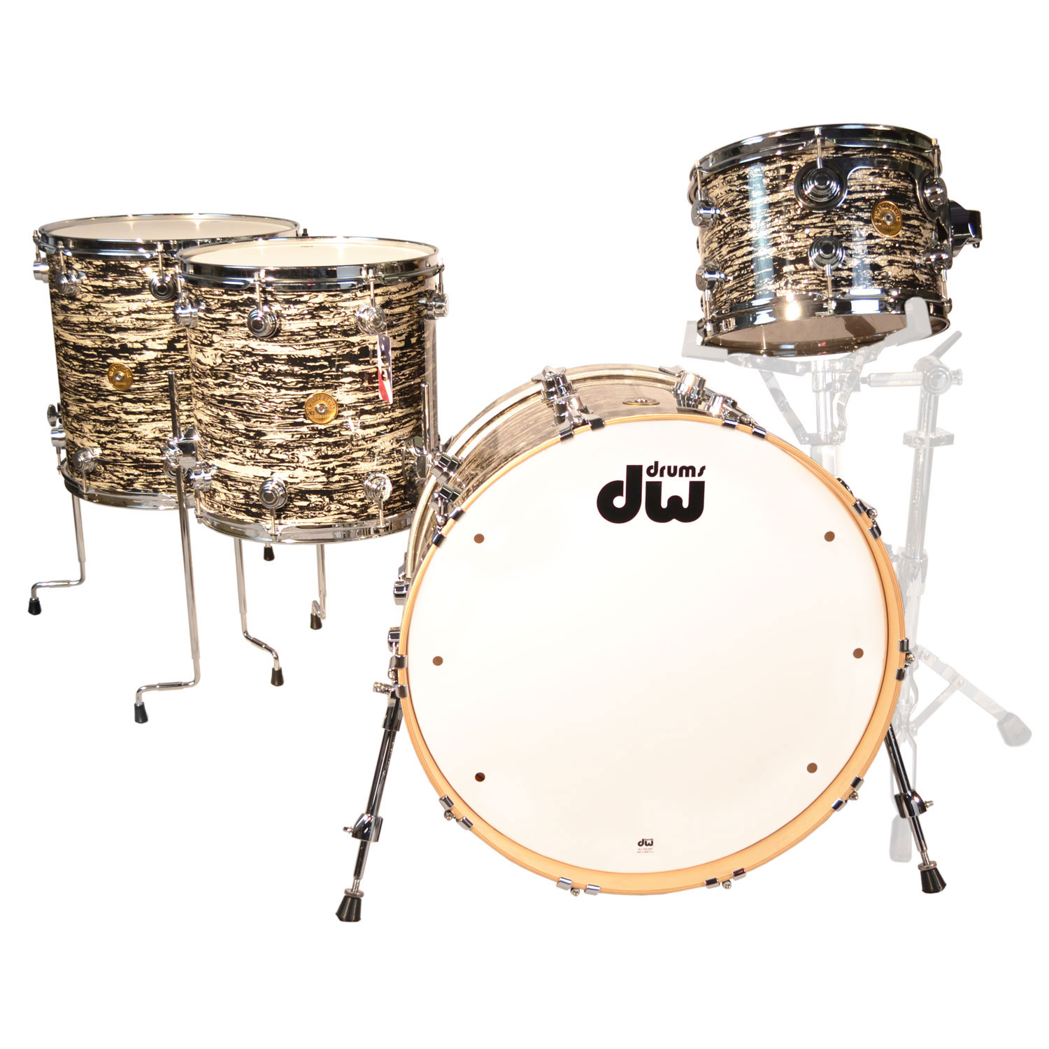 """DW Jazz Series 4-Piece Maple/Gum Drum Set Shell Pack (22"""" Bass, 12/14/16"""" Toms) in Black Oyster Glass"""