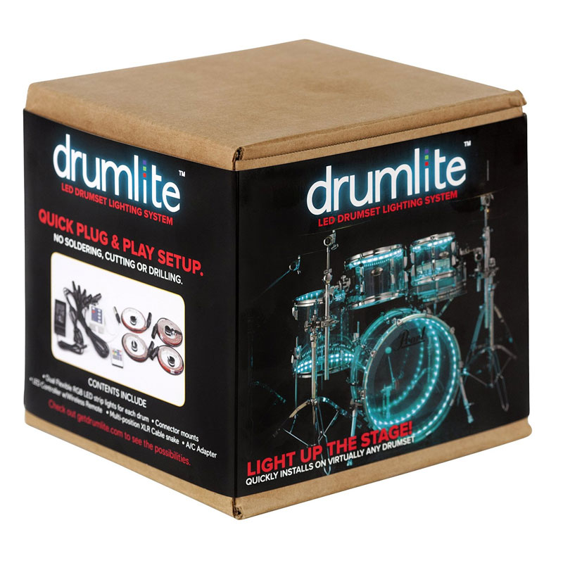 "Drumlite LED Lighting Kit for 4-Piece Acrylic Drum Set (22"" Bass, 10/12/16"" Toms)"
