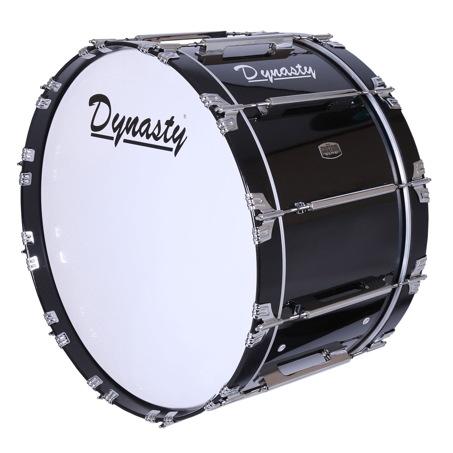 "Dynasty 18"" Custom Elite Marching Bass Drum in Black/Chrome"