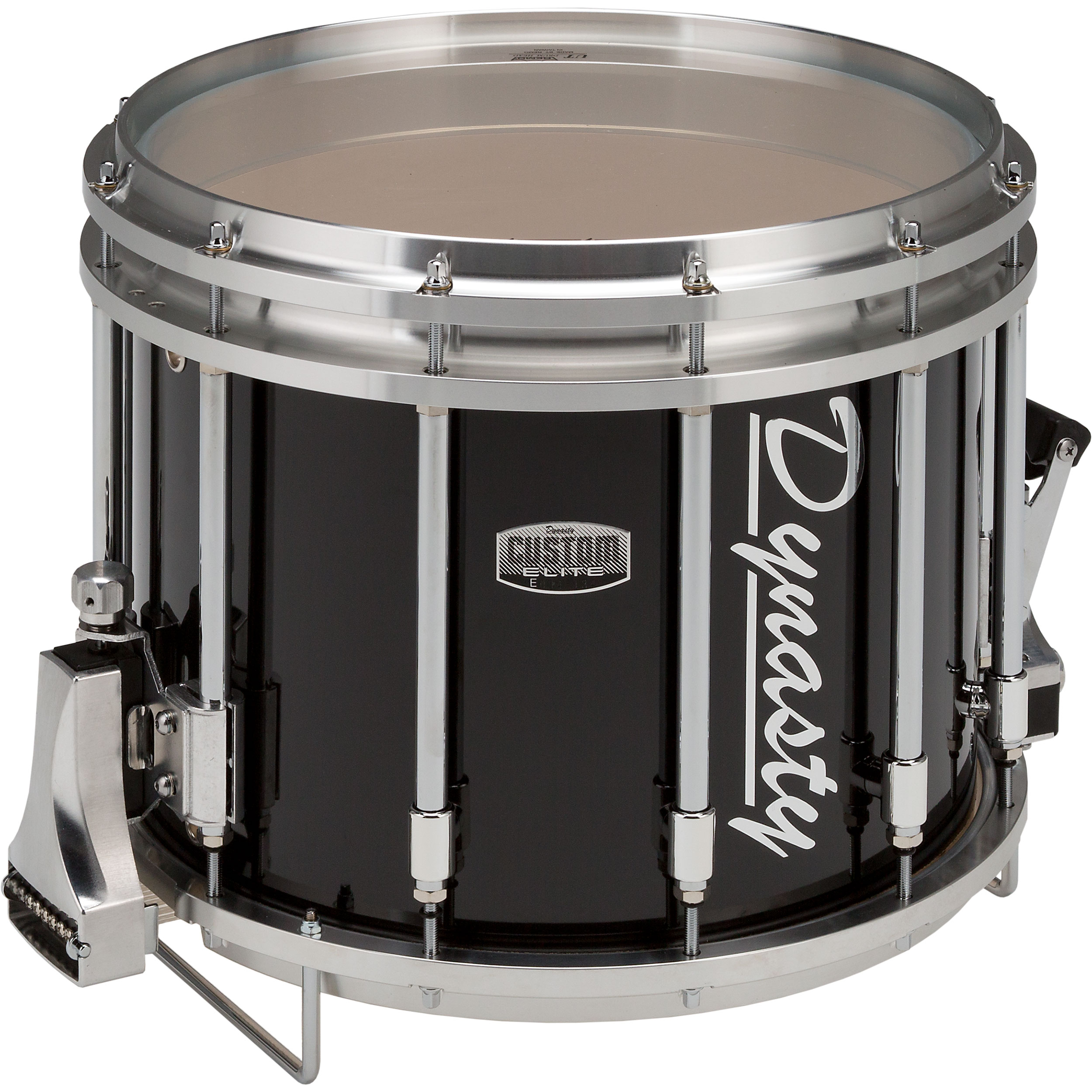 "Dynasty 14"" x 12"" Custom Elite DFZ Marching Snare Drum in Black with Chrome Hardware"