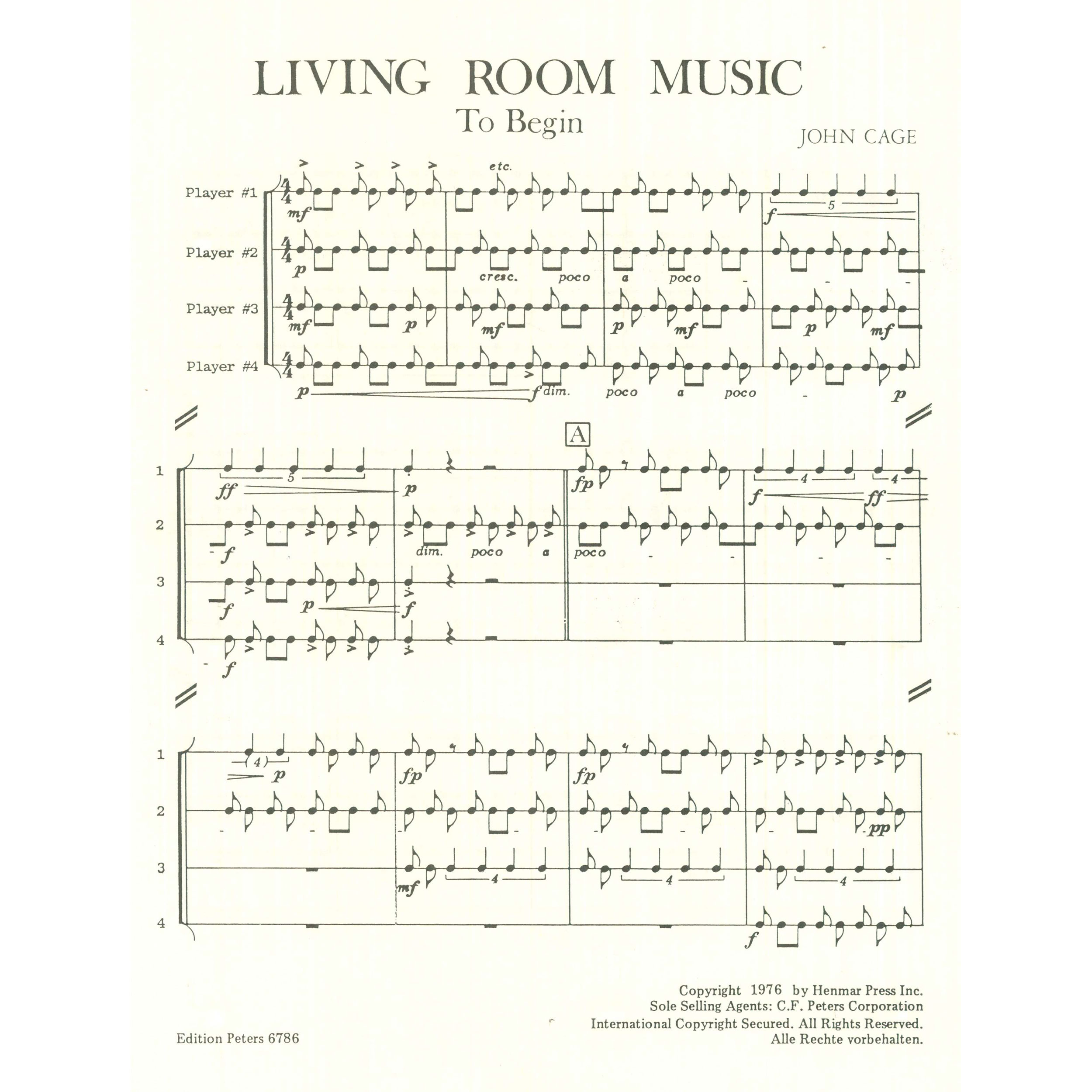 living room music by john cage percussion ensemble edition peters