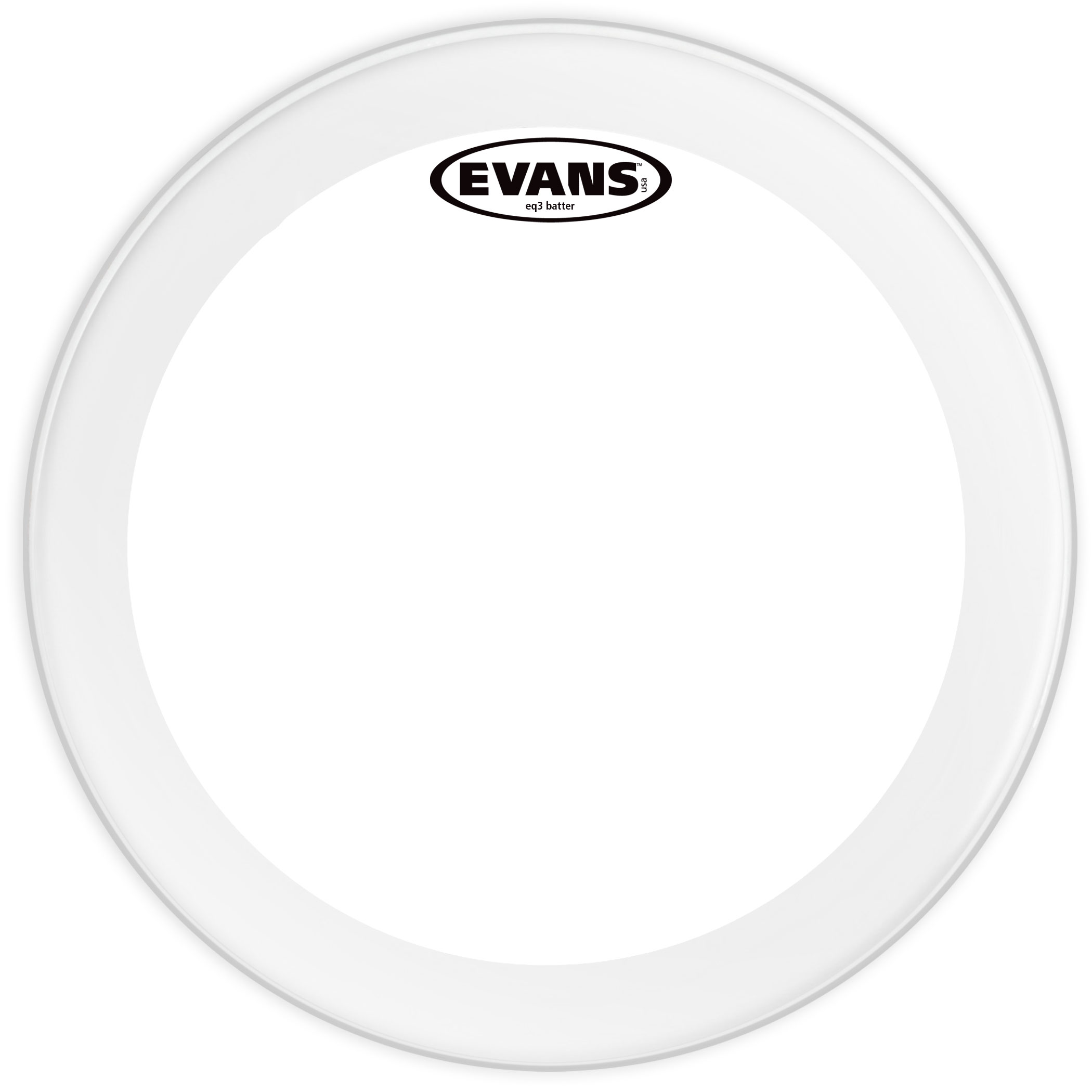 "Evans 20"" EQ3 Frosted Bass Head"
