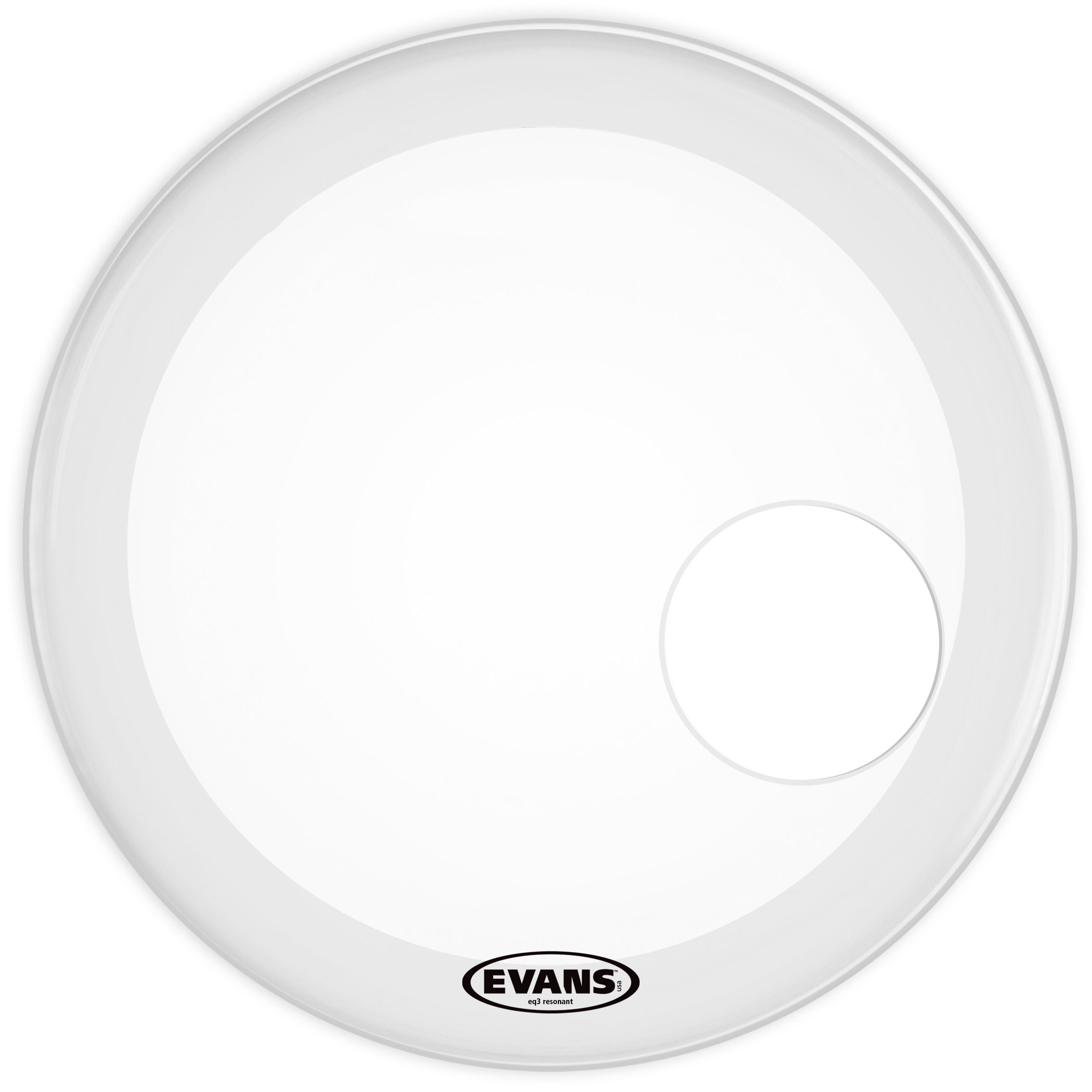 "Evans 20"" EQ3 Coated White Resonant Bass Head"