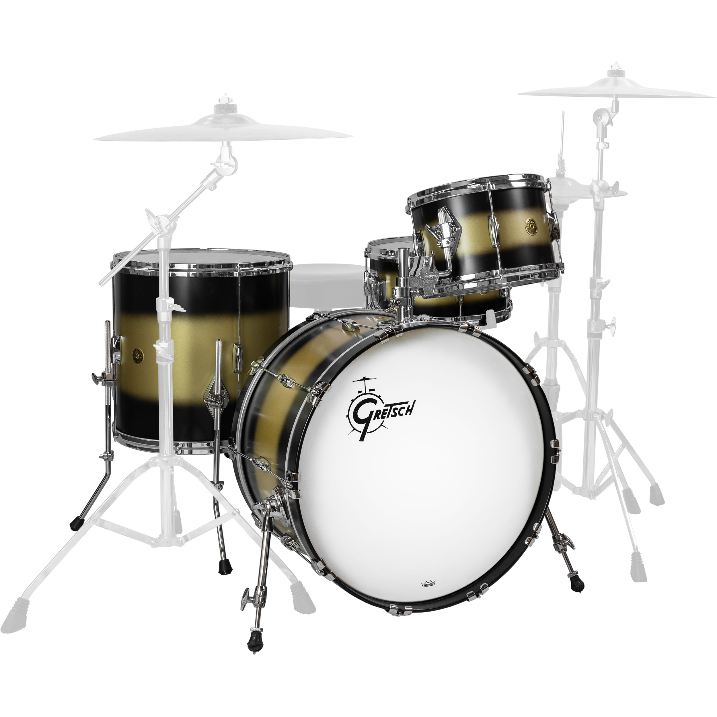 """Gretsch USA Custom Heritage 4-Piece Drum Set Shell Pack (22"""" Bass, 12/16"""" Toms, 14"""" Snare) in Black Gold Duco"""