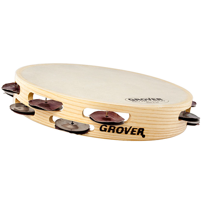 "Grover Pro 10"" Bantamweight Double Row Hybrid Silver Tambourine (Natural Head)"