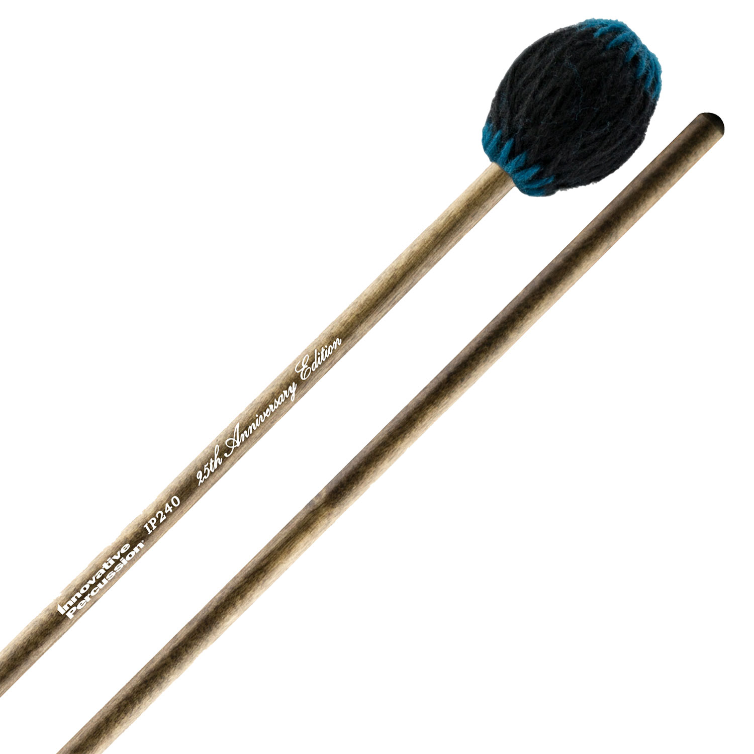 Innovative Percussion 25th Anniversary Soloist Series Medium Black Yarn Marimba Mallets with Dark-Stained Birch Handles