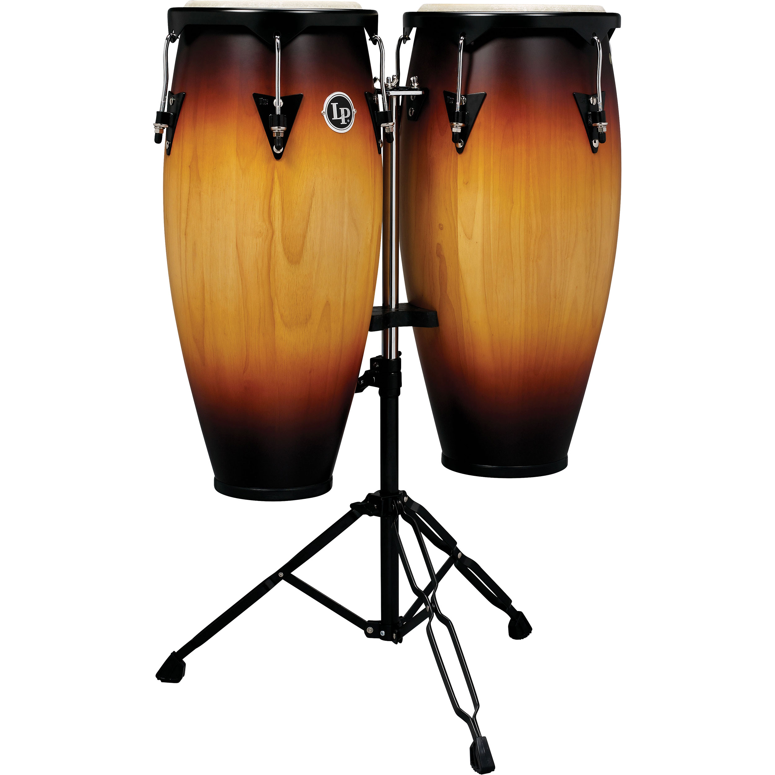 "LP 10"" & 11"" City Series Conga Set with Double Conga Stand in Vintage Sunburst"