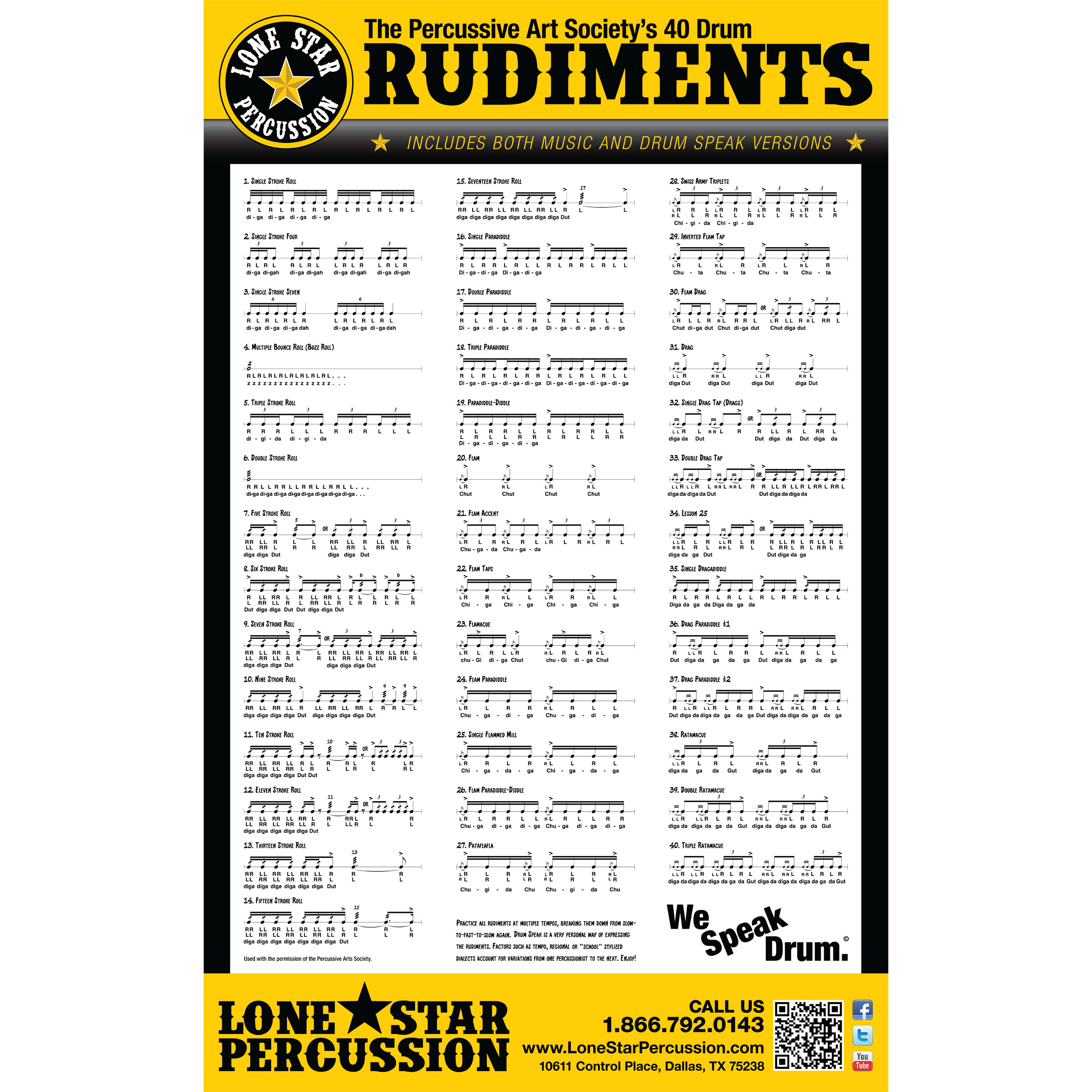 "Lone Star Percussion 22"" x 36"" Drum Speak Rudiment Poster"