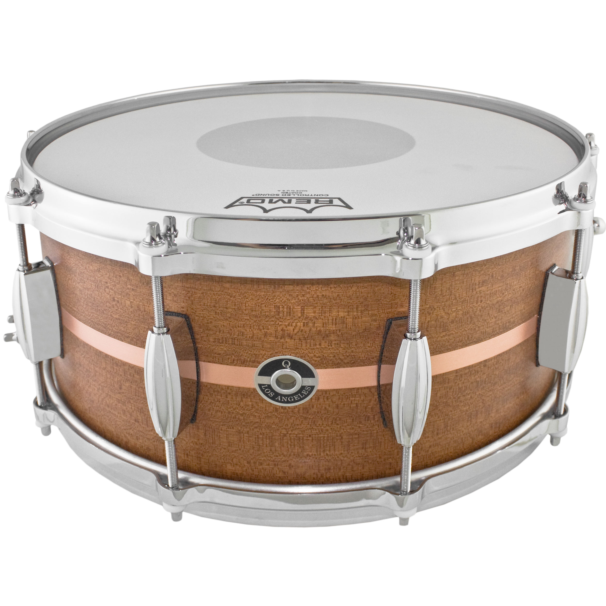 """Q Drum Co. 7"""" x 14"""" Mahogany/Poplar Snare Drum with Copper Inlay"""