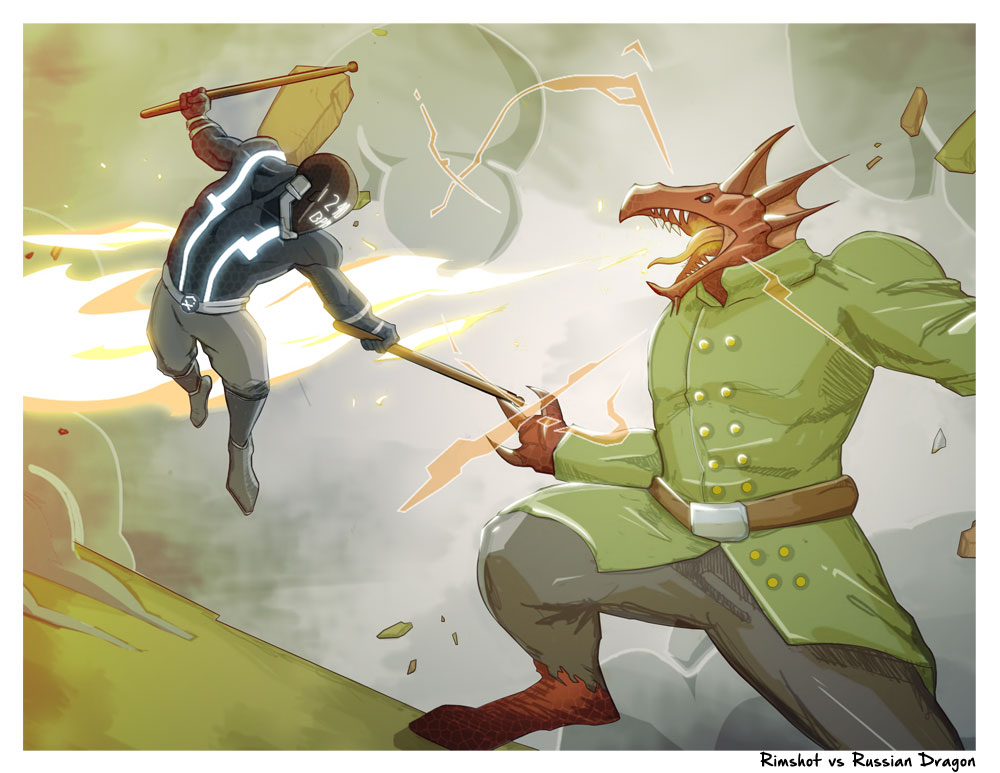 "Lone Star Percussion Drumline Superhero Rimshot vs. Russian Dragon 8.5"" x 11"" Artwork Print"