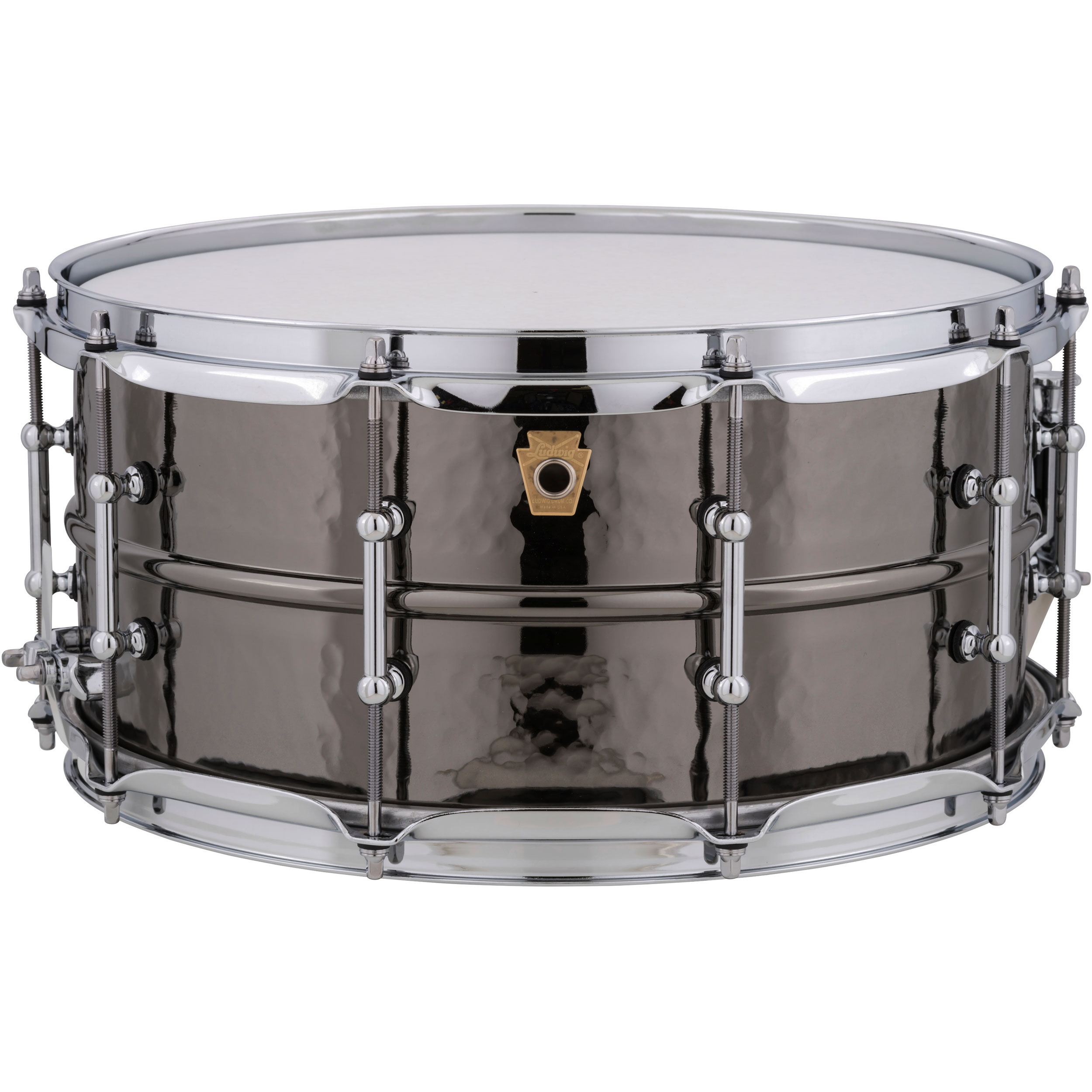 "Ludwig 6.5"" x 14"" Hammered Black Beauty Snare Drum with Tube Lugs"
