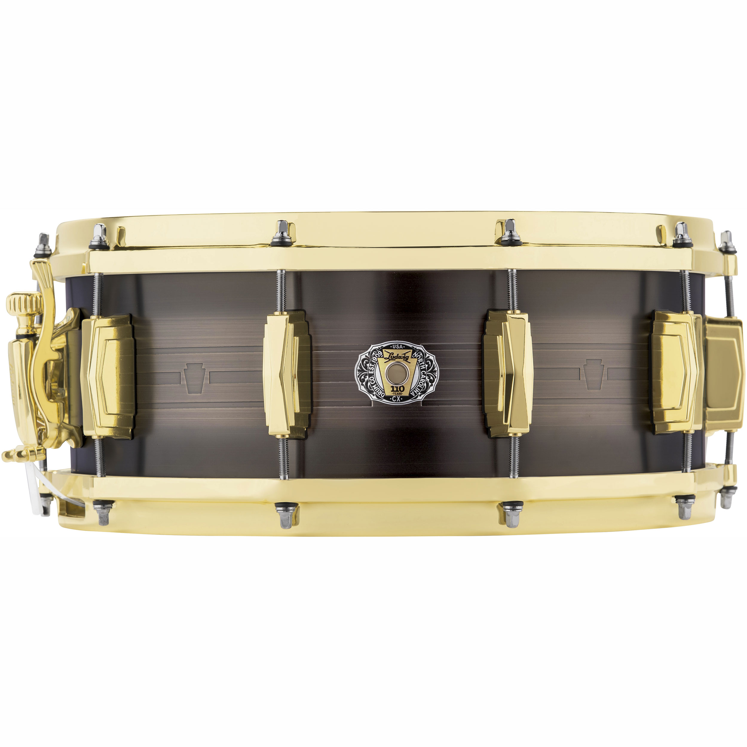 "Ludwig 5.5"" x 14"" 110th Anniversary 1mm Brass Heirloom Snare Drum"