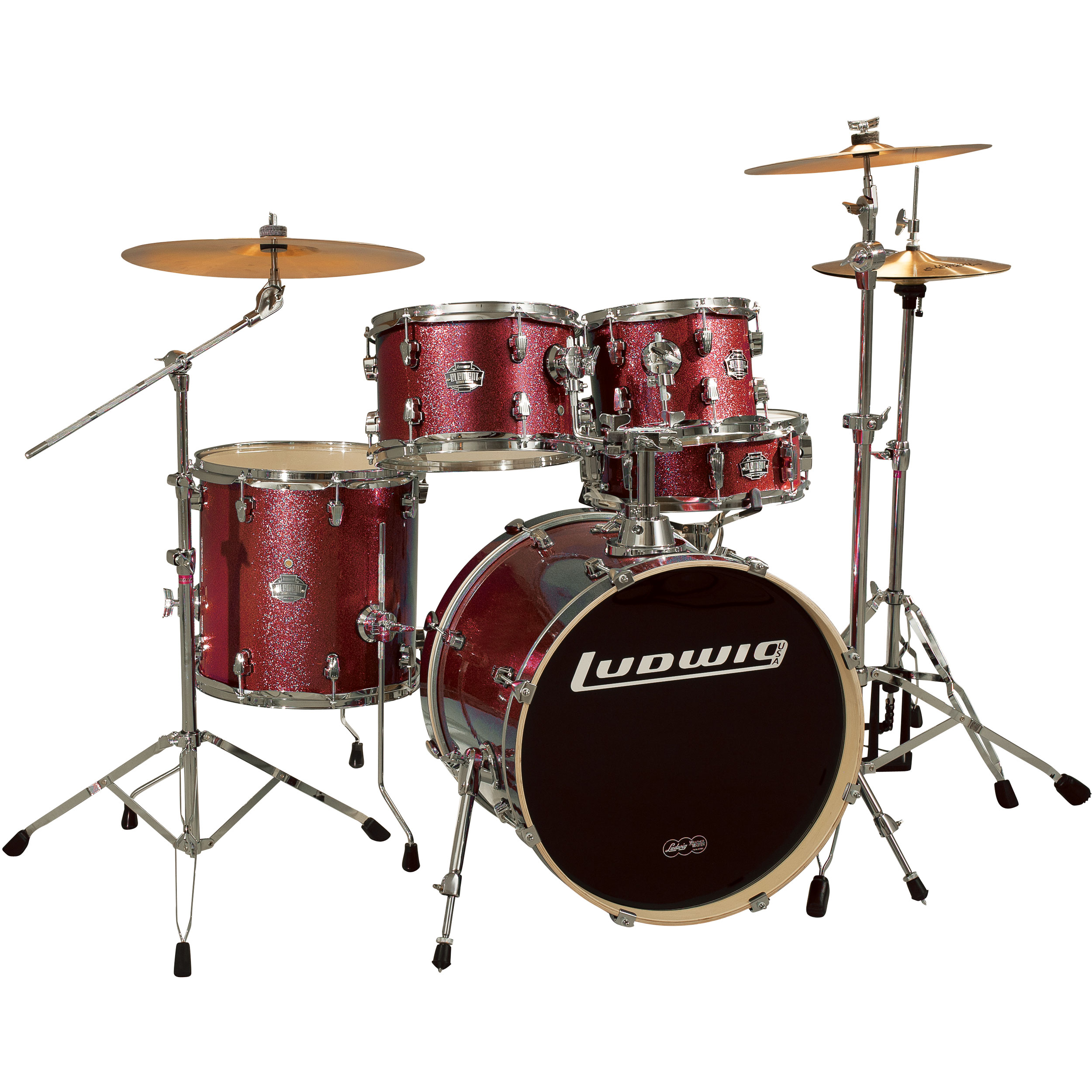 main image for ludwig element pop 5 piece drum set with hardware cymbals 20. Black Bedroom Furniture Sets. Home Design Ideas