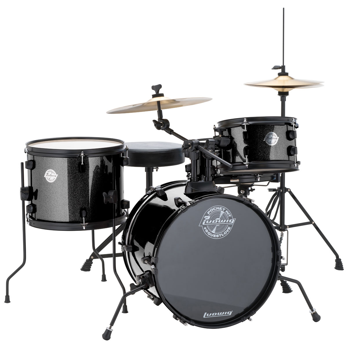 ludwig pocket kit 4 piece drum set w hardware cymbals 16 bass 10 13 toms 12 snare lc178x0. Black Bedroom Furniture Sets. Home Design Ideas