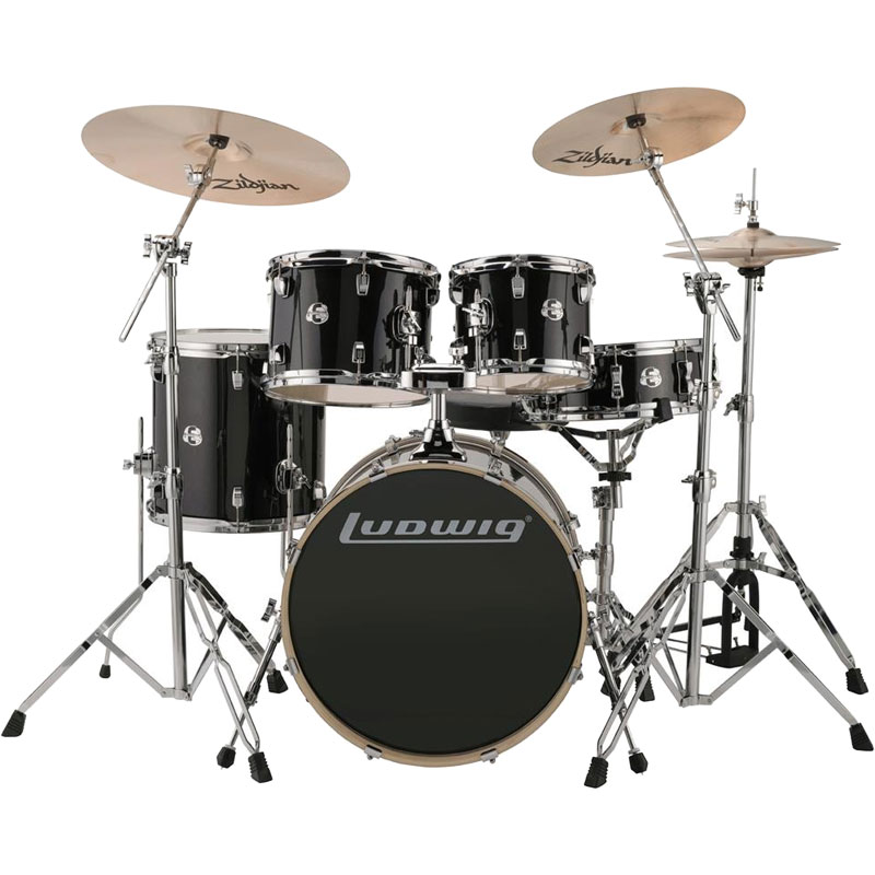 "Ludwig Element Evolution 5-Piece Drum Set (20"" Bass, 10/12/14"" Toms, 14"" Snare) with Hardware & Cymbals"