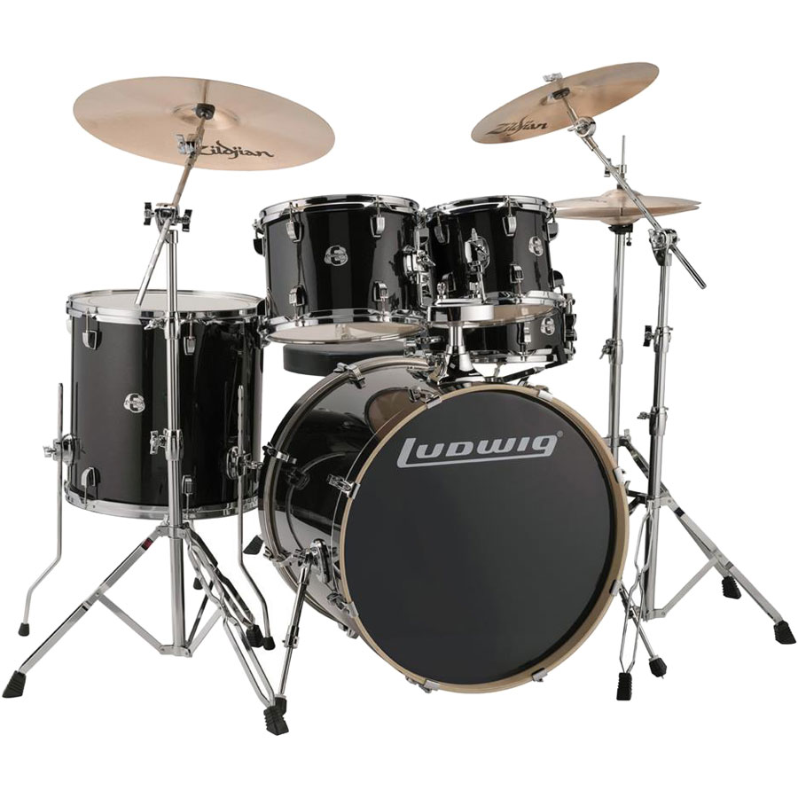 ludwig element evolution 5 pc drum set 22 bass 10 12 16 toms 14 snare with hardware cymbals. Black Bedroom Furniture Sets. Home Design Ideas
