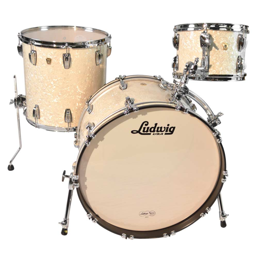 """Ludwig Classic Maple 3-Piece Drum Set Shell Pack (22"""" Bass, 12/16"""" Toms) in Vintage White Marine with ATLAS Mounts"""