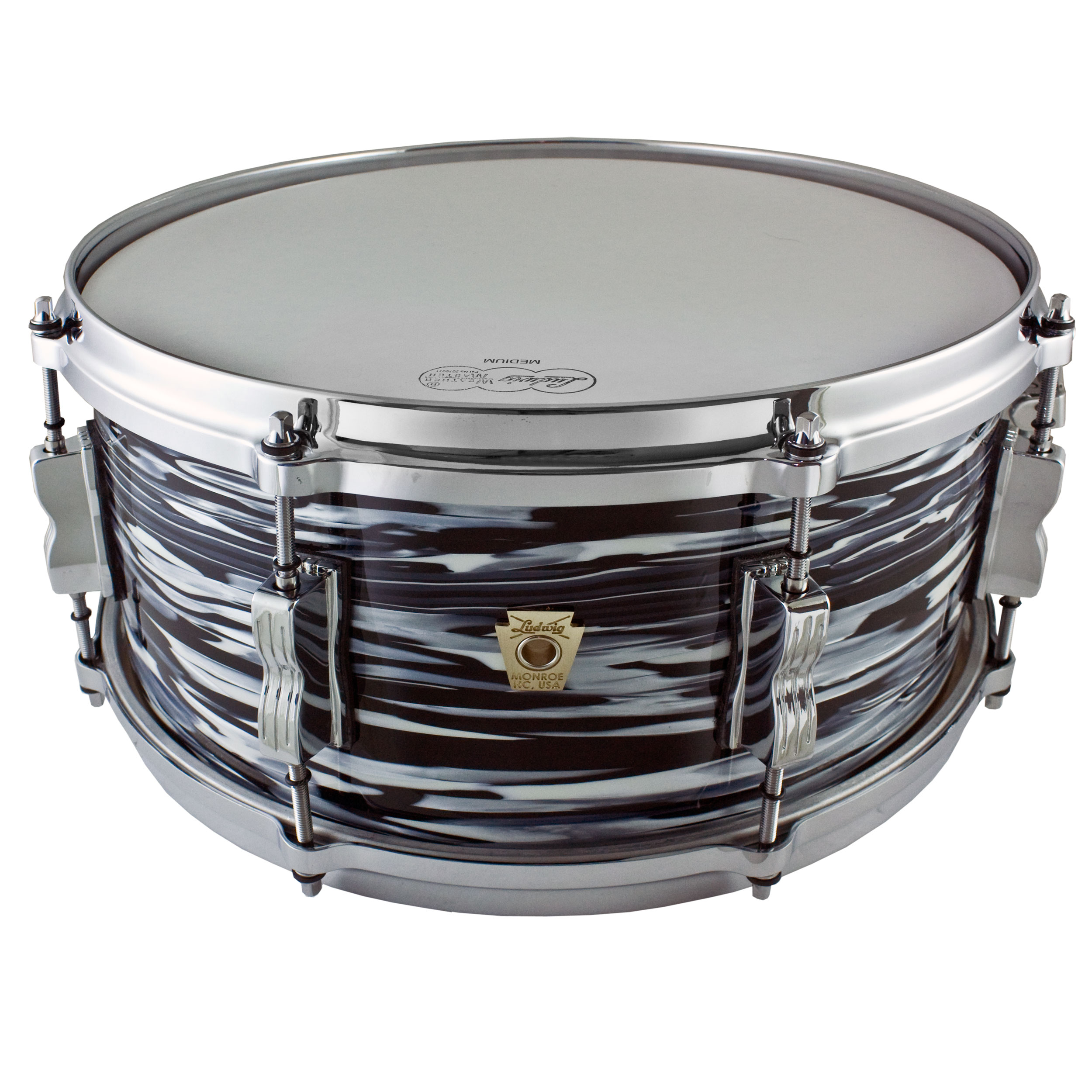 """Ludwig 6.5"""" x 14"""" Classic Maple Snare Drum in Vintage Black Oyster"""