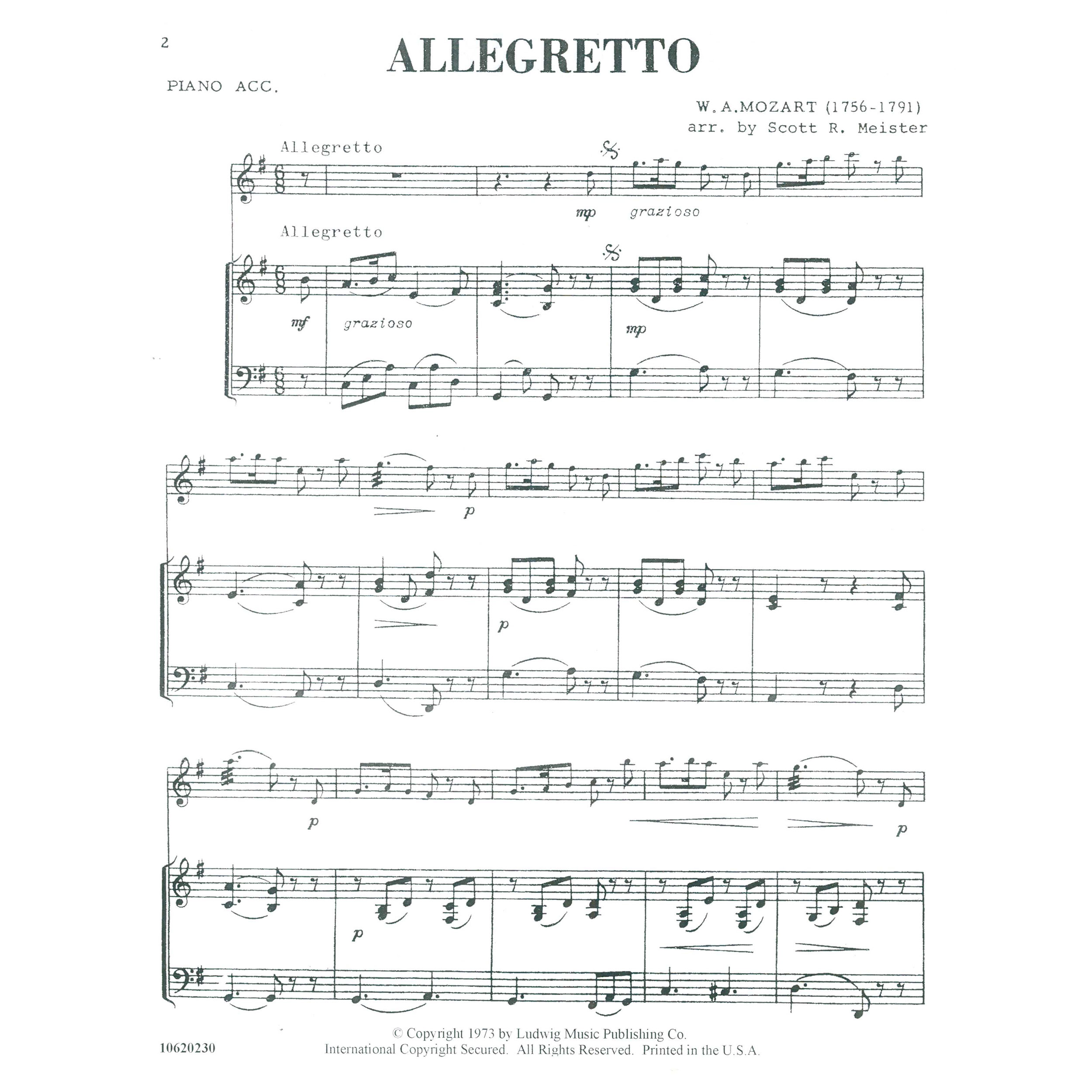 Allegretto By W A Mozart Arr Scott R Meister Solos
