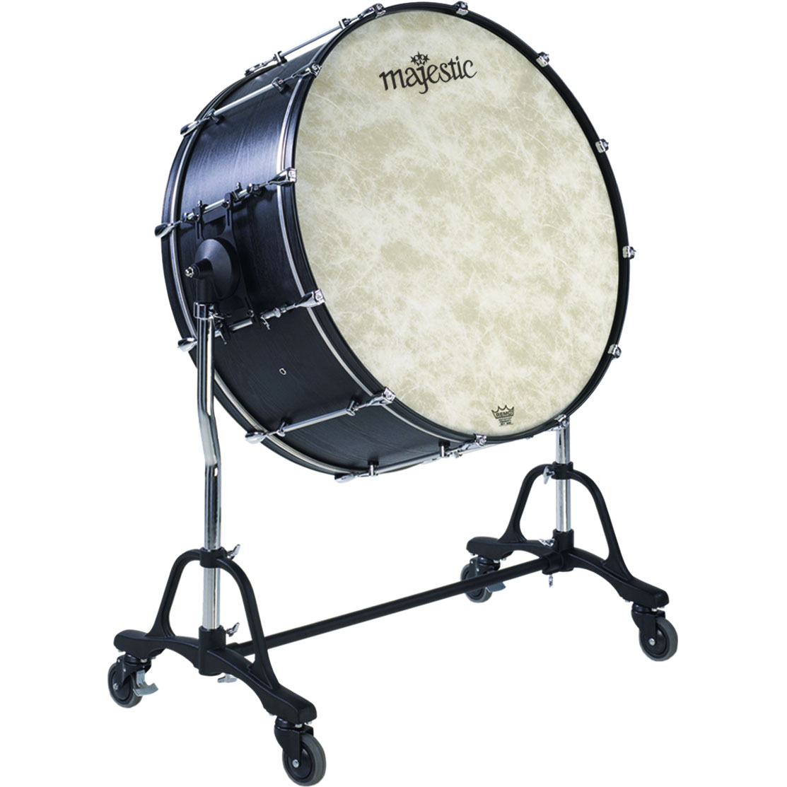 "Majestic 36"" (Diameter) x 22"" (Deep) Concert Black Concert Bass Drum with QBSXX Field Tilting Stand"