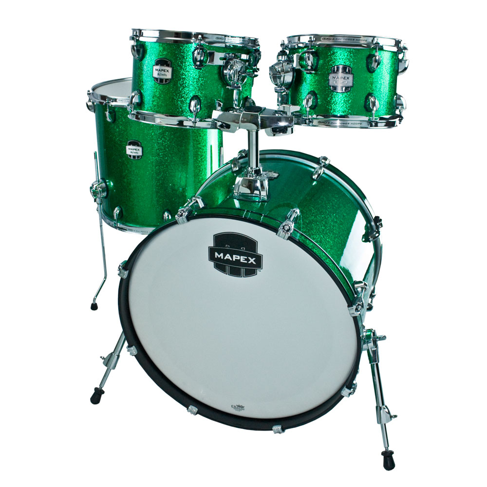 mapex mydentity 4 piece drum set shell pack 22 bass 10 12 16 toms in green sparkle chrome. Black Bedroom Furniture Sets. Home Design Ideas