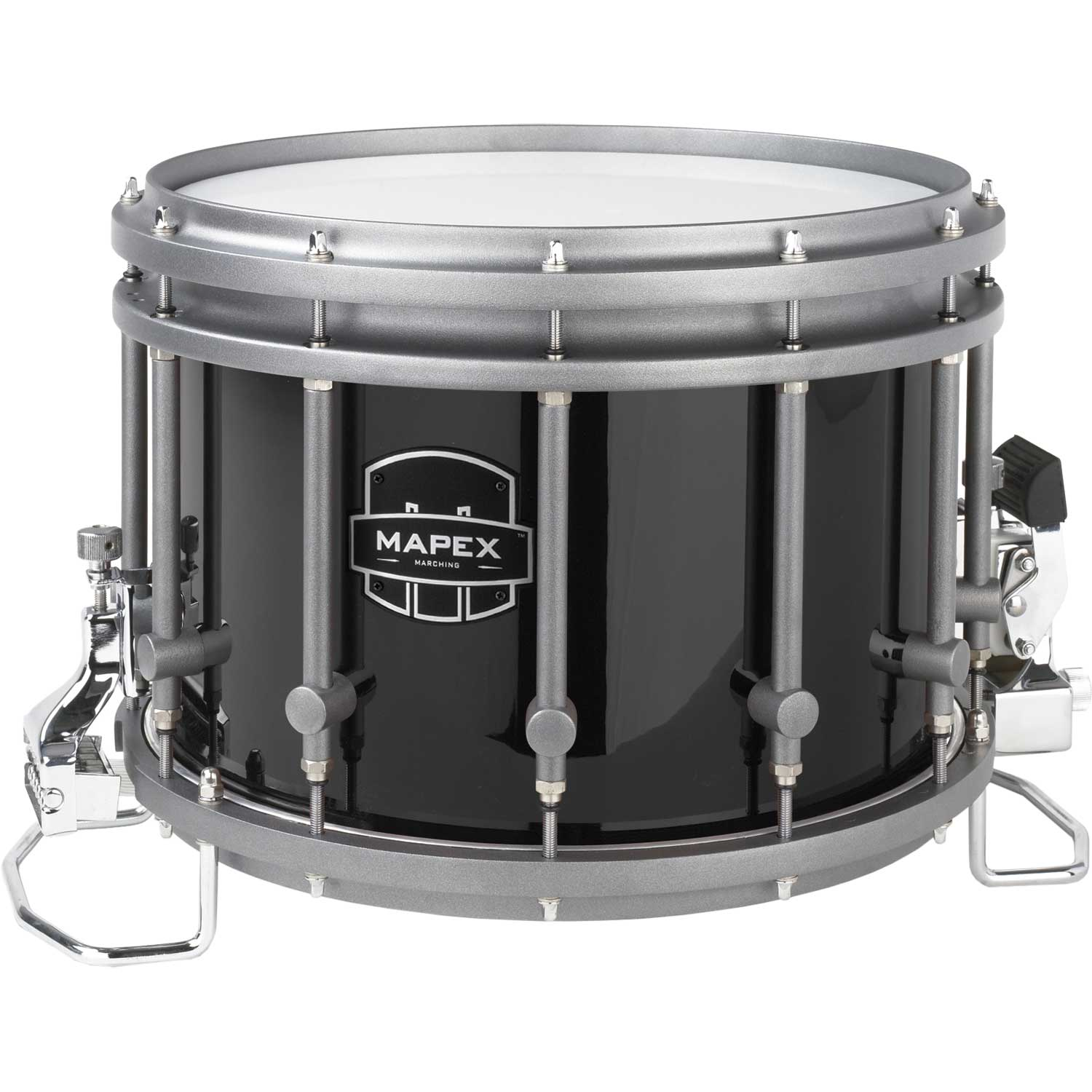 "Mapex 14"" (Diameter) x 10"" (Deep) Quantum Agility Marching Snare Drum in Gloss Black"