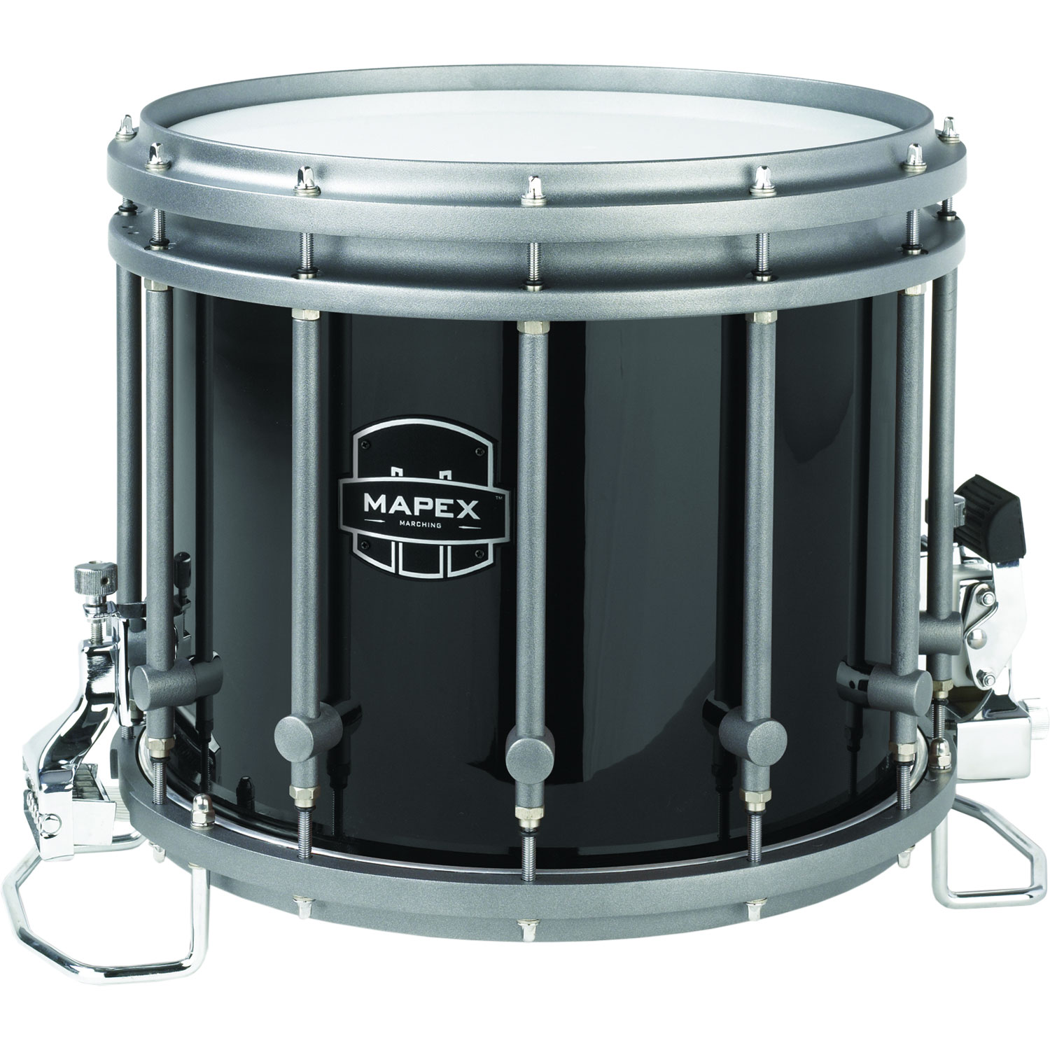 mapex 14 diameter x 12 deep quantum xt marching snare drum in gloss black qcx1412s bl gc. Black Bedroom Furniture Sets. Home Design Ideas