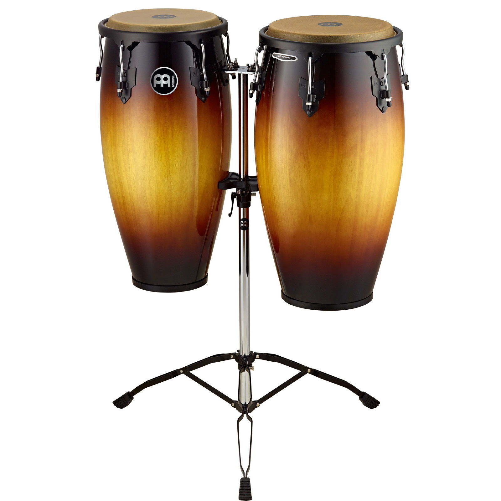 "Meinl 11"" & 12"" Headliner Series Conga Set in Vintage Sunburst with Stand"