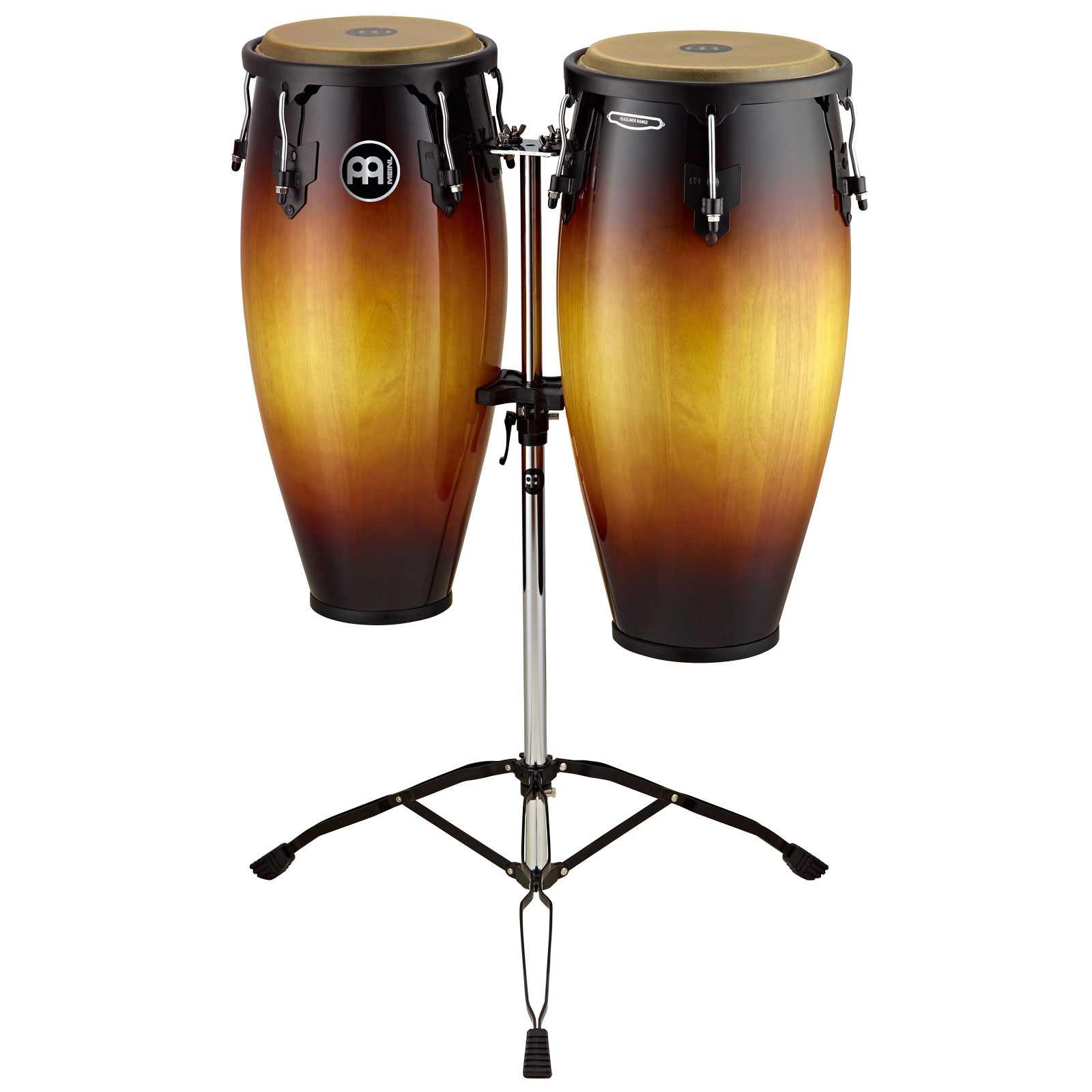 "Meinl 10"" & 11"" Headliner Series Conga Set in Vintage Sunburst with Stand"