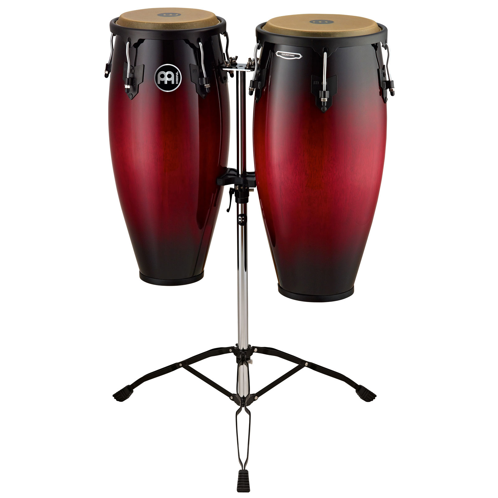 "Meinl 10"" & 11"" Headliner Series Conga Set in Wine Red Burst with Stand"