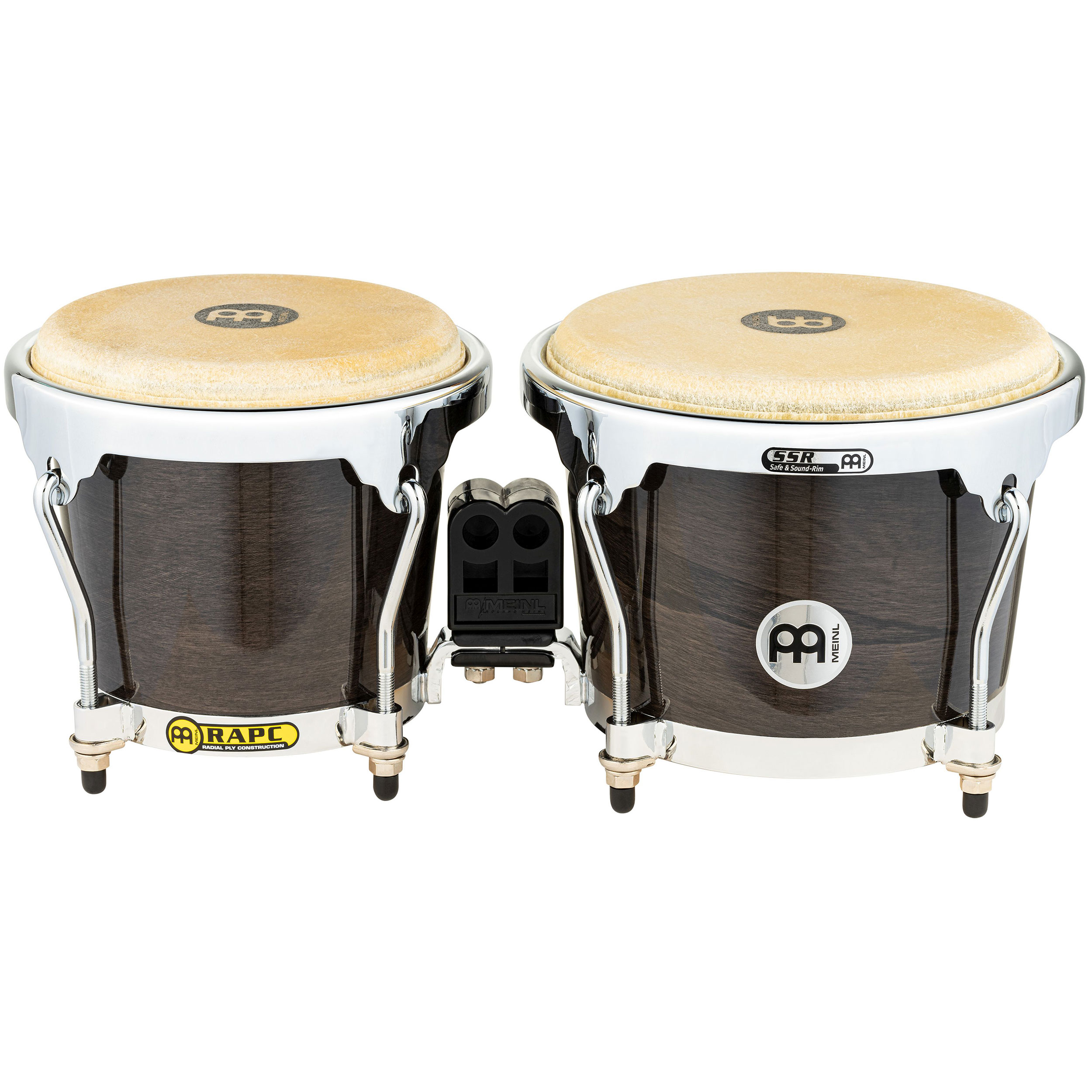 "Meinl 6.75"" & 8"" Radial 5-Ply Construction (RAPC) Wood Bongos in Ebony Black"