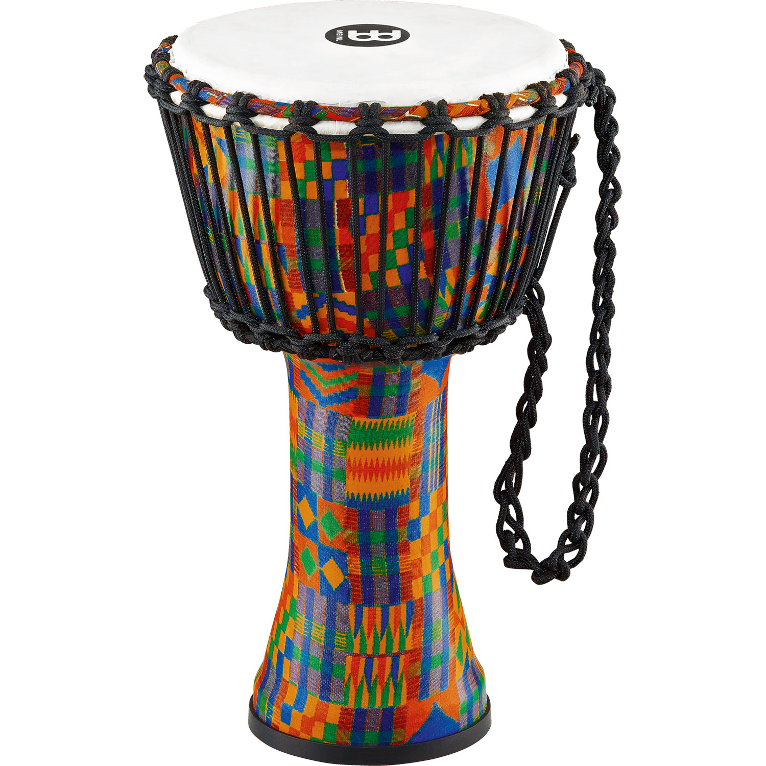 "Meinl 14"" Rope-Tuned Travel Djembe in Kenyan Quilt with Synthetic Head"