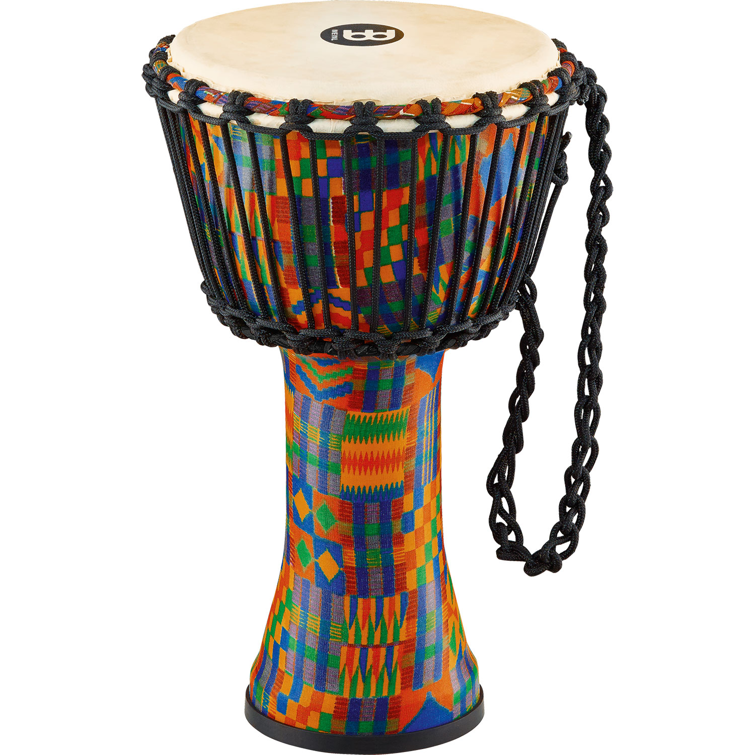 "Meinl 14"" Rope-Tuned Travel Djembe in Kenyan Quilt with Natural Head"