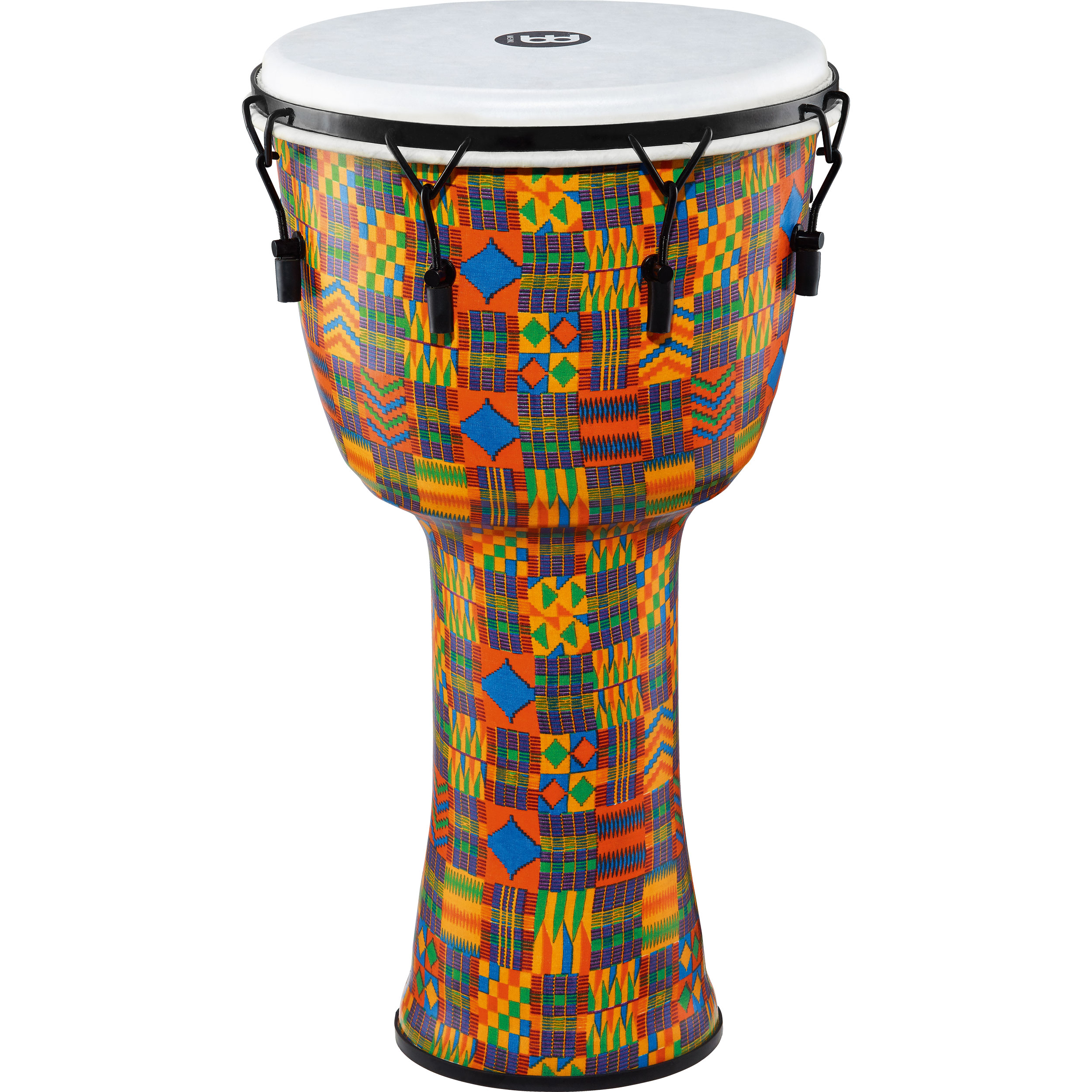 "Meinl 14"" Mechanically-Tuned Travel Djembe in Kenyan Quilt with Synthetic Head"