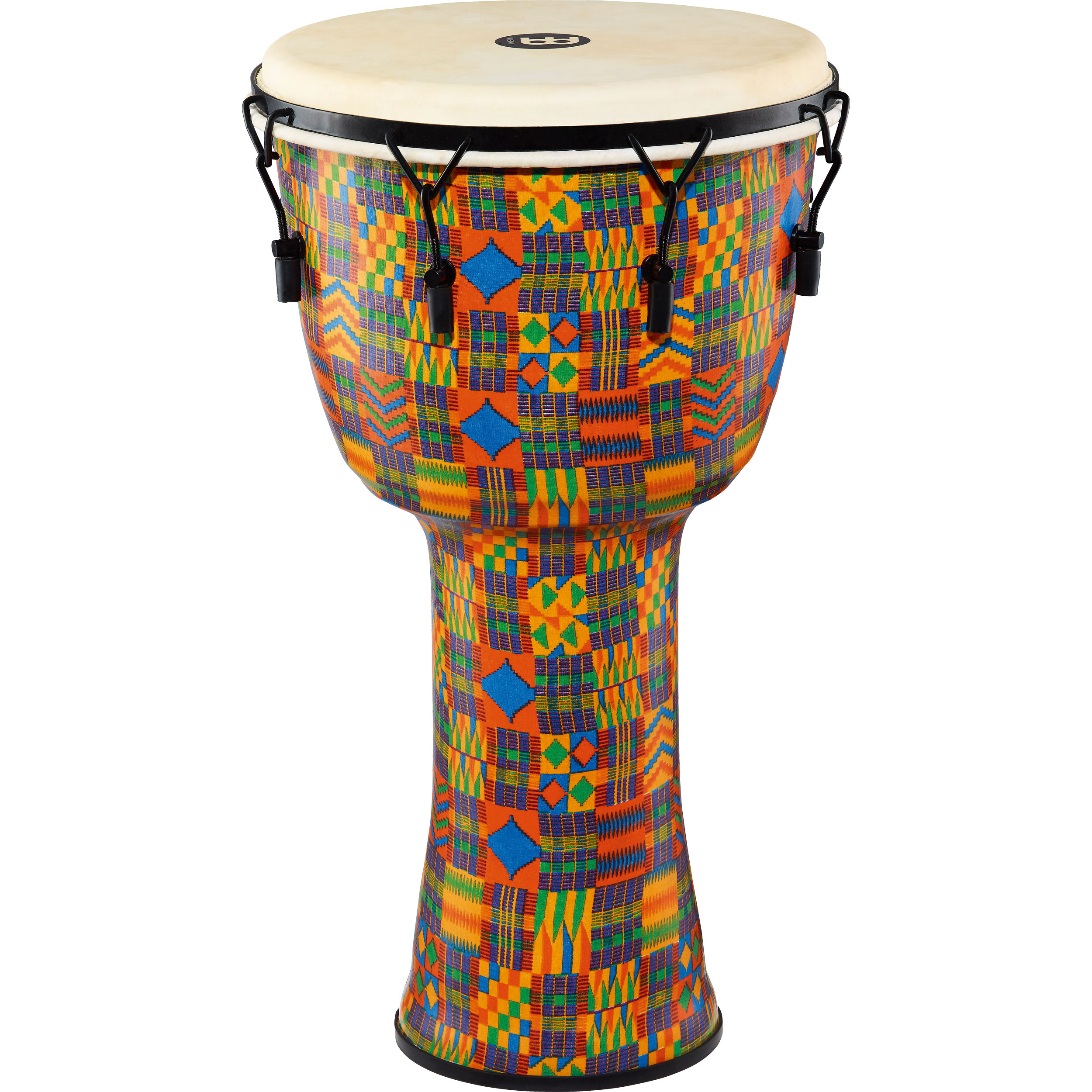 "Meinl 14"" Mechanically-Tuned Travel Djembe in Kenyan Quilt with Natural Head"