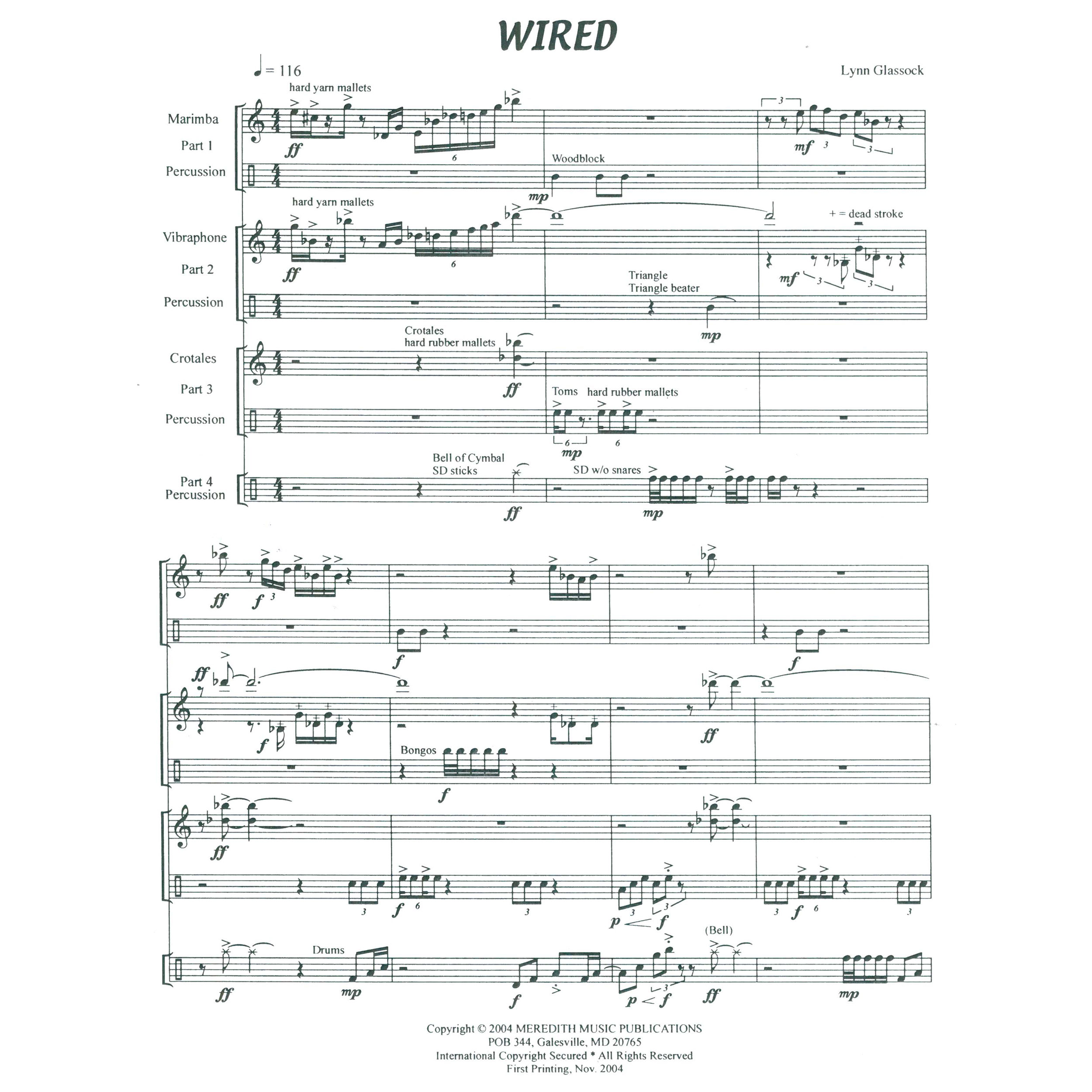 Wired by Lynn Glassock   Percussion Ensemble (Meredith Music)