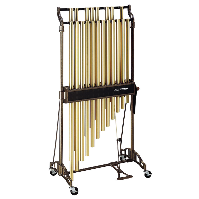 "Musser 1.5 Octave 1.25"" Classic Chimes in Satin Brass on Field Cart"