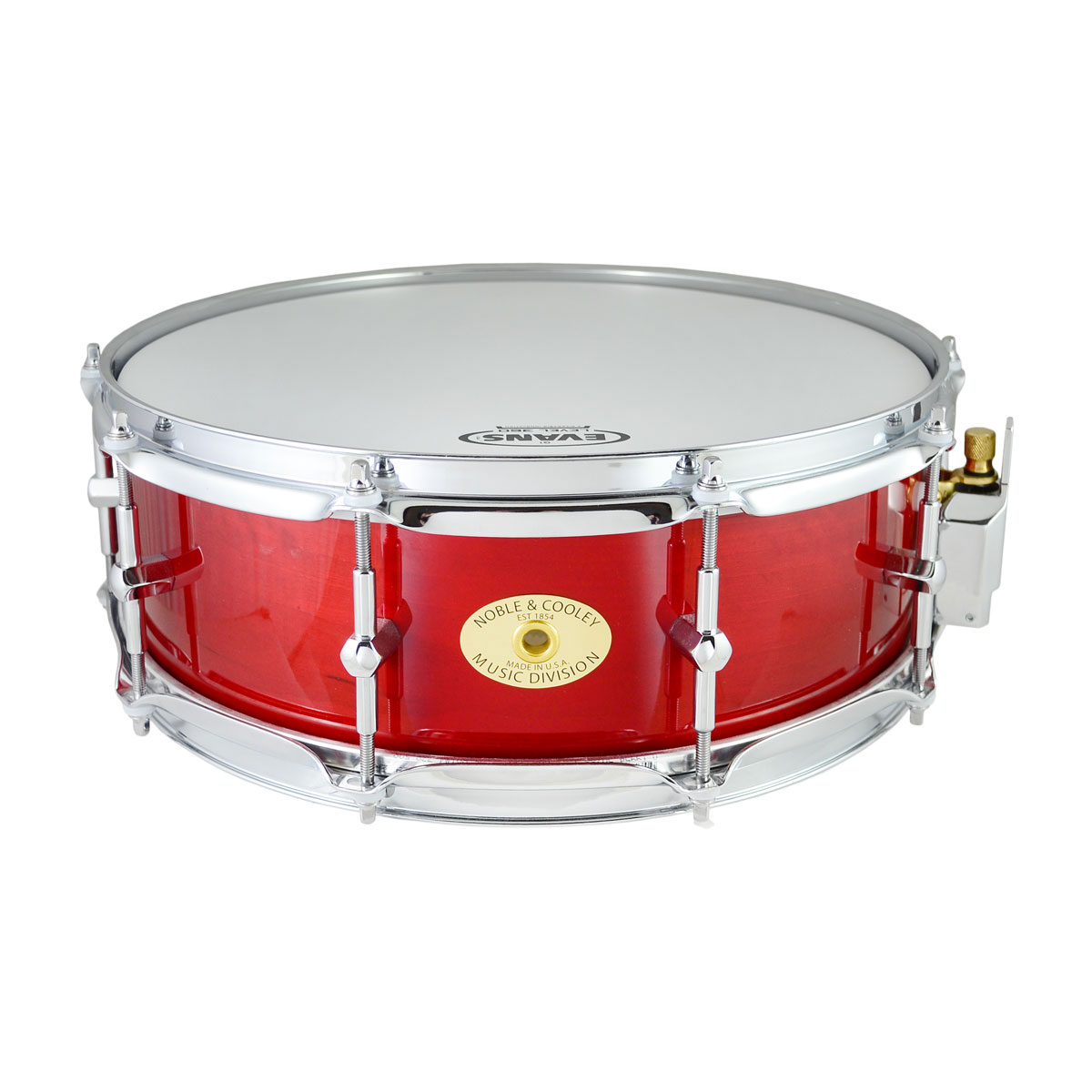 "Noble & Cooley 5"" x 14"" Classic Solid Shell Birch Snare Drum in Translucent Red Gloss"