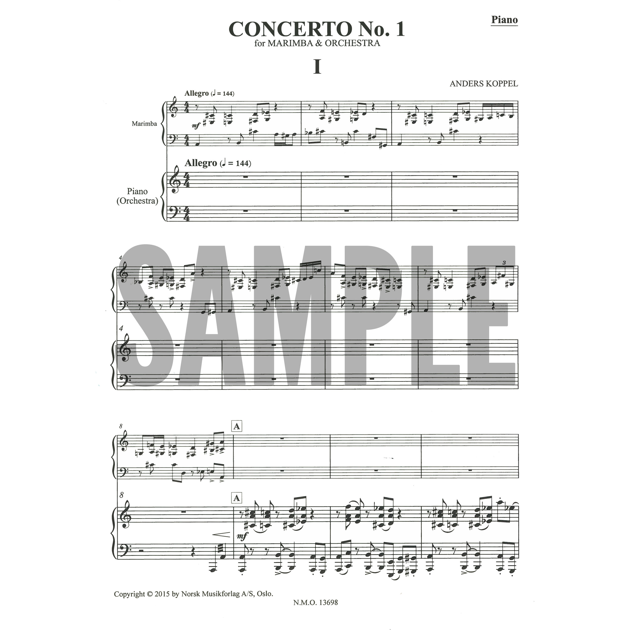 Concerto no1 for marimba and orchestra piano reduction by anders concerto no1 for marimba and orchestra piano reduction by anders koppel cheapraybanclubmaster Image collections