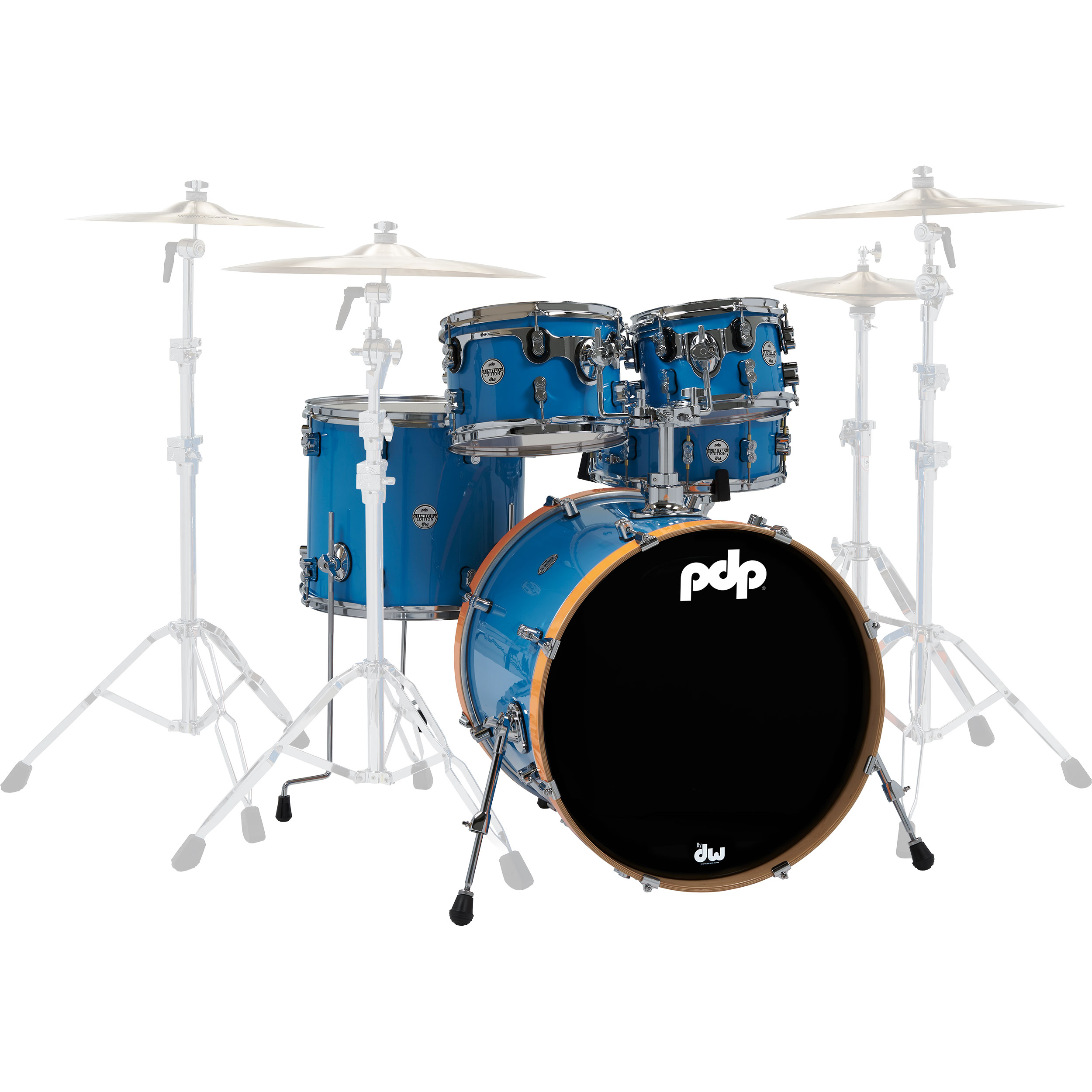 "PDP Limited Edition Concept Series 5-Piece Drum Set Shell Pack (22"" Bass, 10/12/16"" Toms, 14"" Snare) in Blue Lacquer with Orange Hoops"