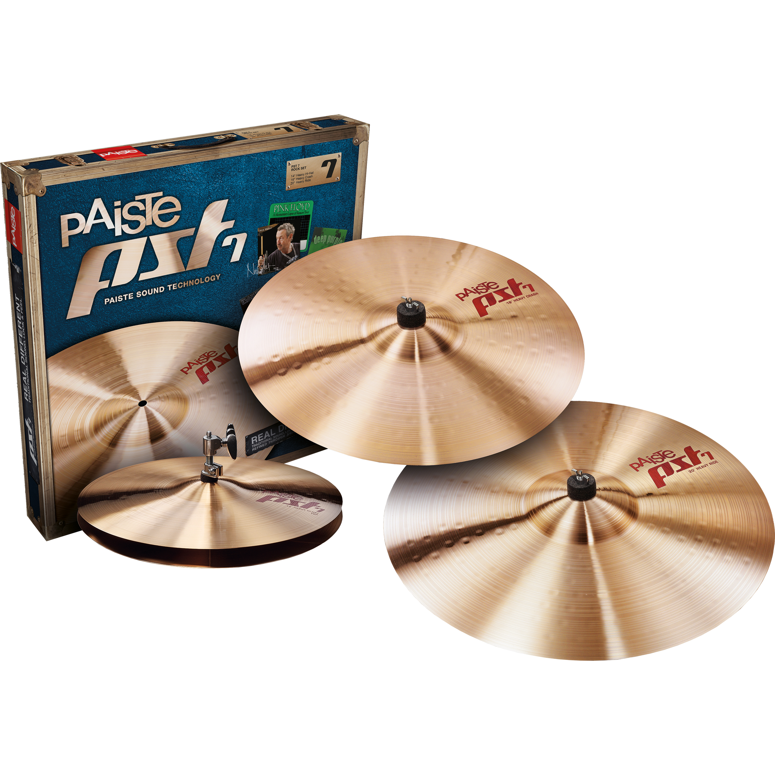 Paiste PST 7 Rock 3-Piece Cymbal Box Set (Hi Hats, Crash, Ride)