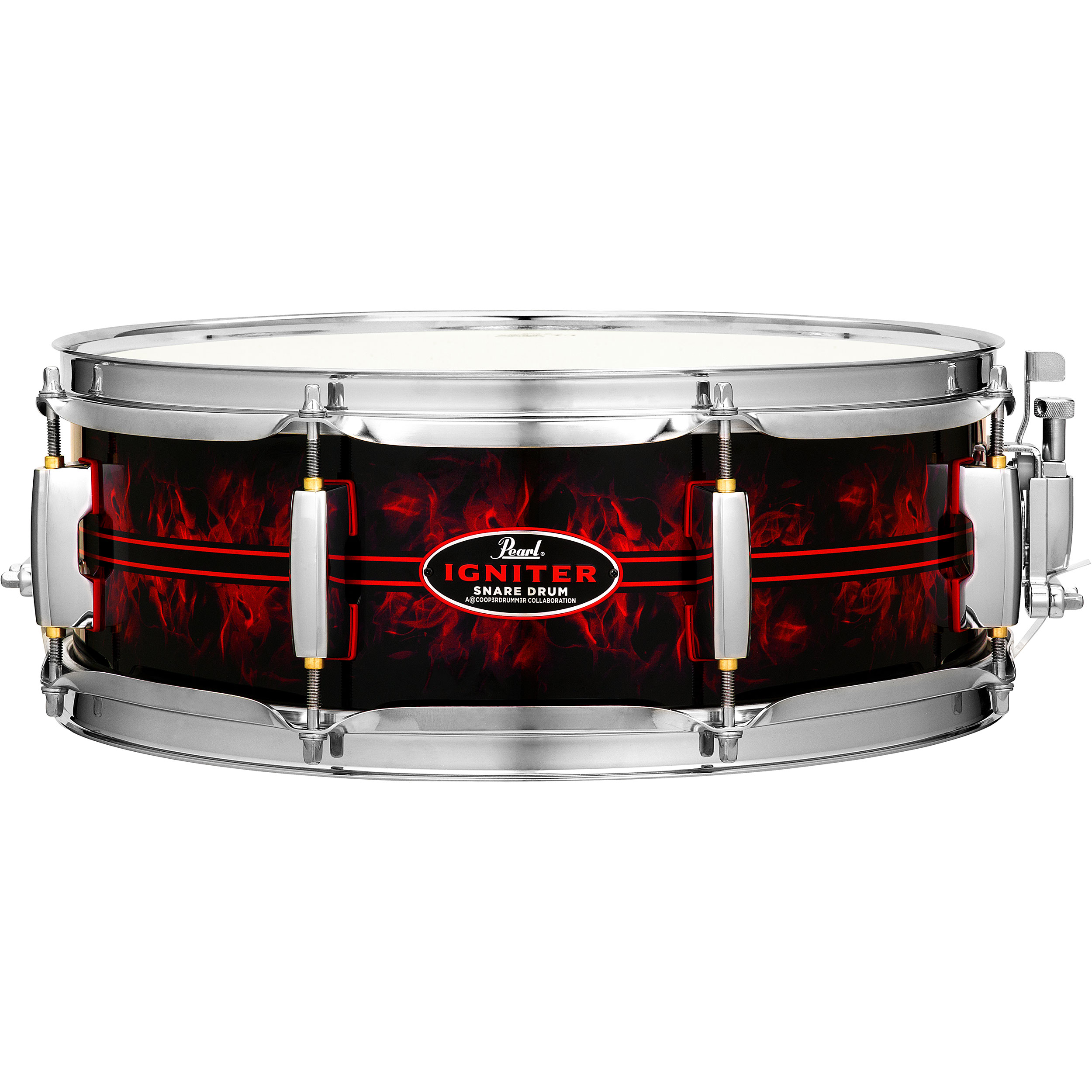 """Pearl 14"""" x 5"""" Igniter 6-Ply Poplar/Maple Snare Drum in Custom Pinstripe/Flame Graphic Wrap"""