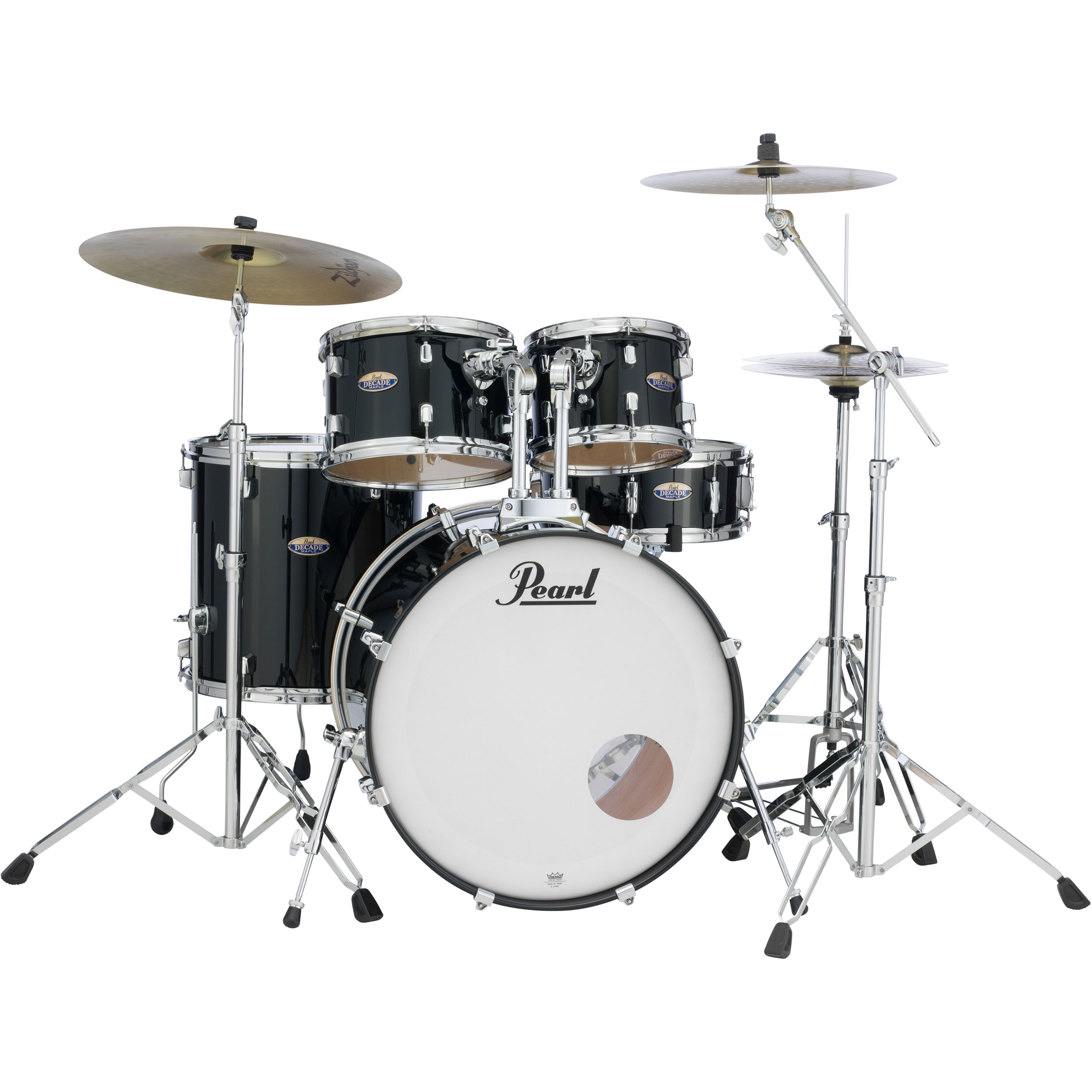 Pearl Decade Maple 5-Piece Drum Set with 830 Series Hardware and Zildjian Planet Z Cymbals  (22B, 10/12/16T, 14S) in Black Ice